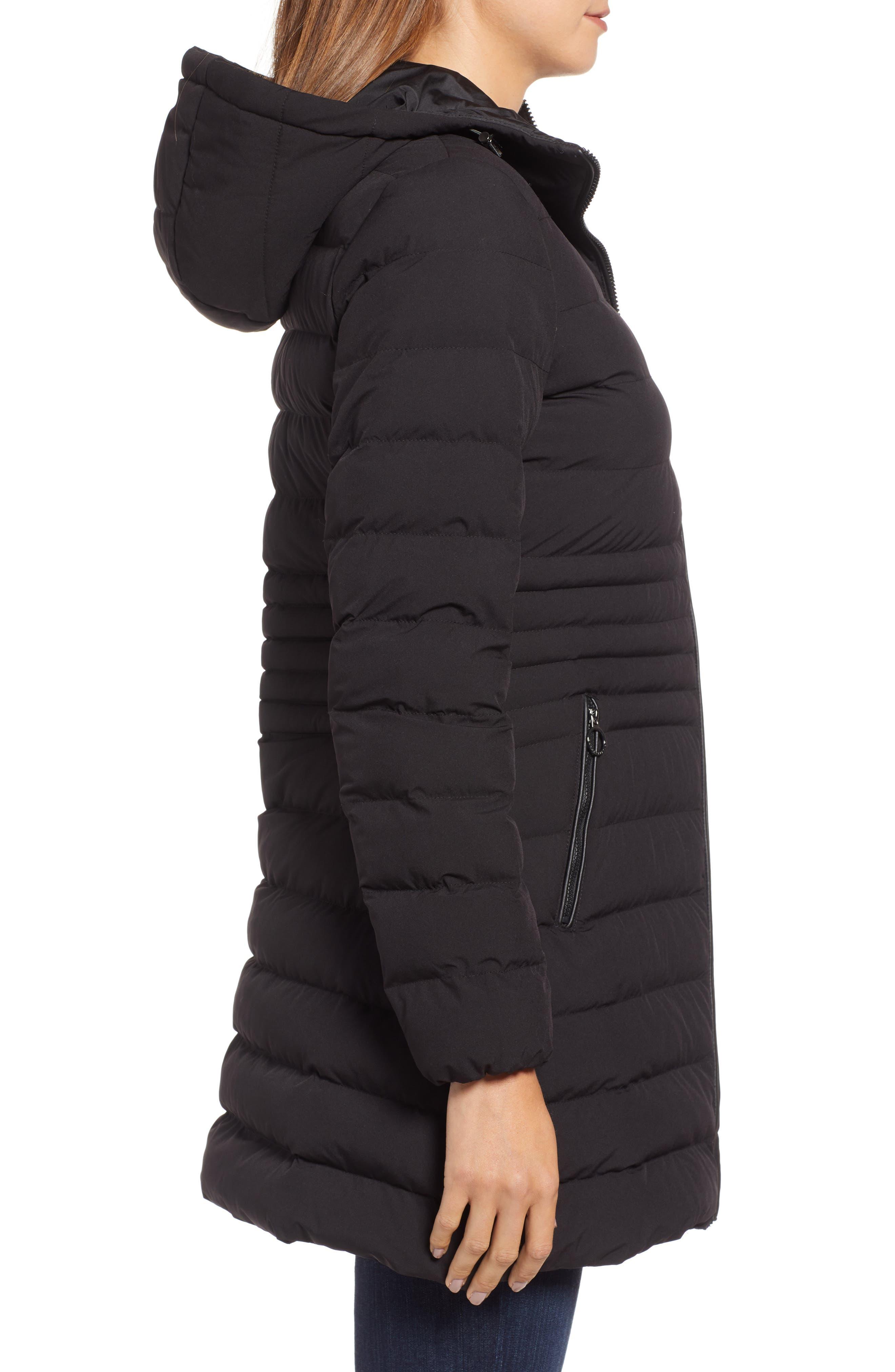 Hooded Down Puffer Coat,                             Alternate thumbnail 3, color,                             BLACK