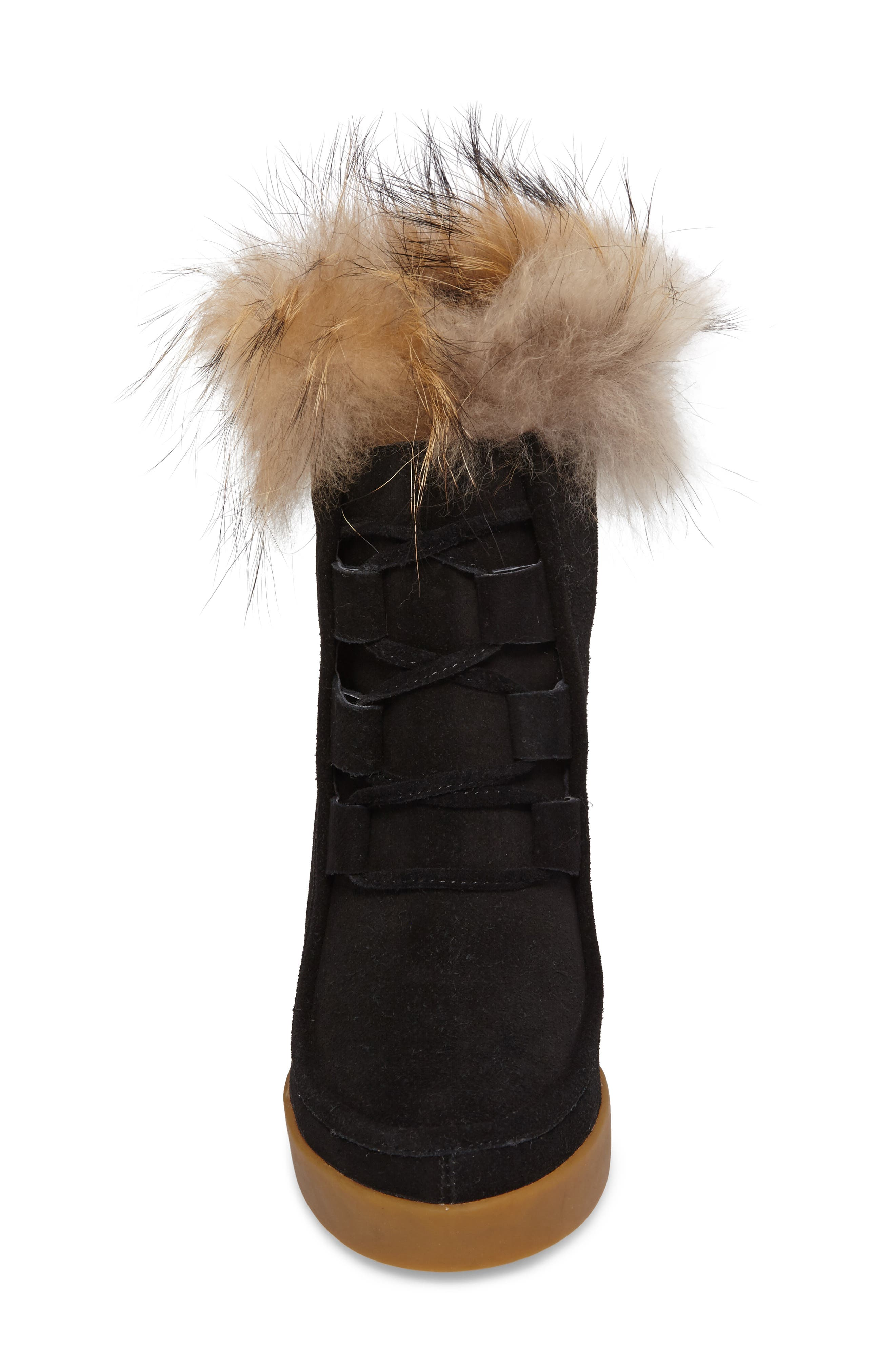Holly Wedge Bootie with Genuine Fox Fur Trim,                             Alternate thumbnail 4, color,                             BLACK SUEDE