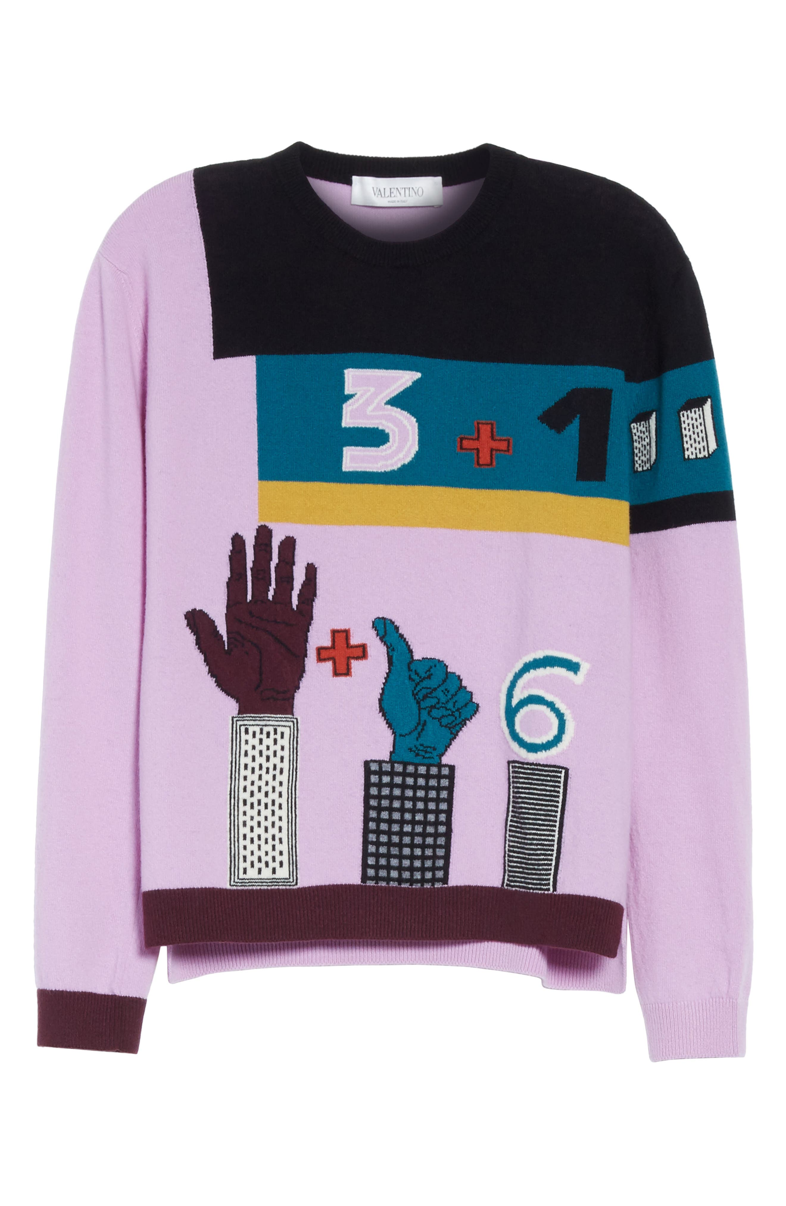 Counting Number 6 Intarsia Wool & Cashmere Sweater,                             Alternate thumbnail 6, color,                             500