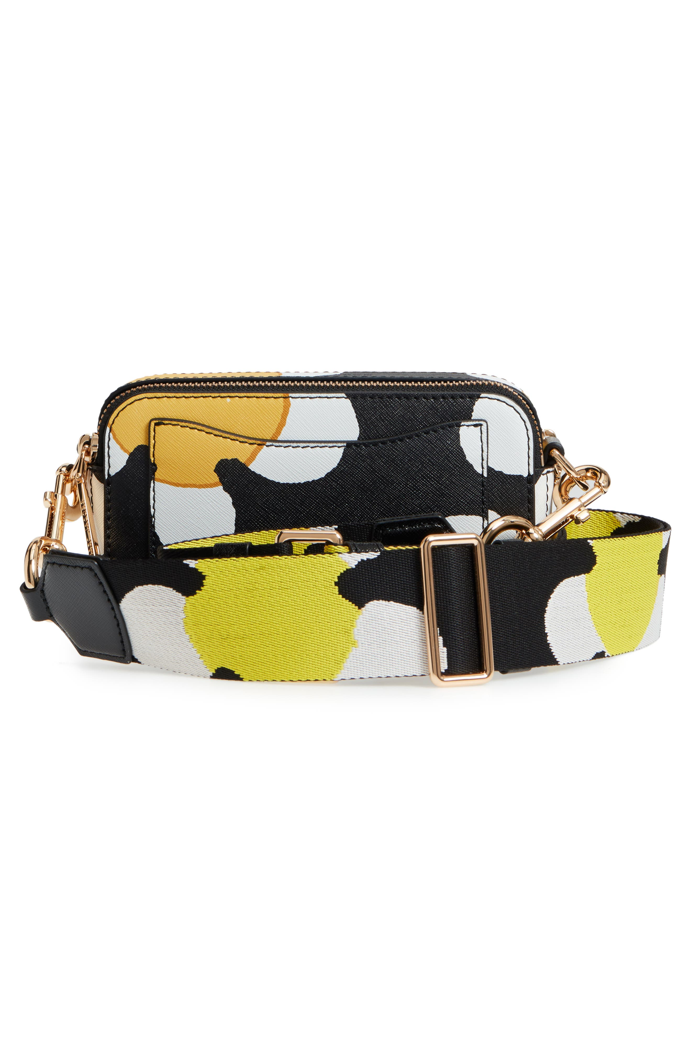 Snapshot Daisy Print Leather Crossbody Bag,                             Alternate thumbnail 3, color,                             YELLOW MULTI