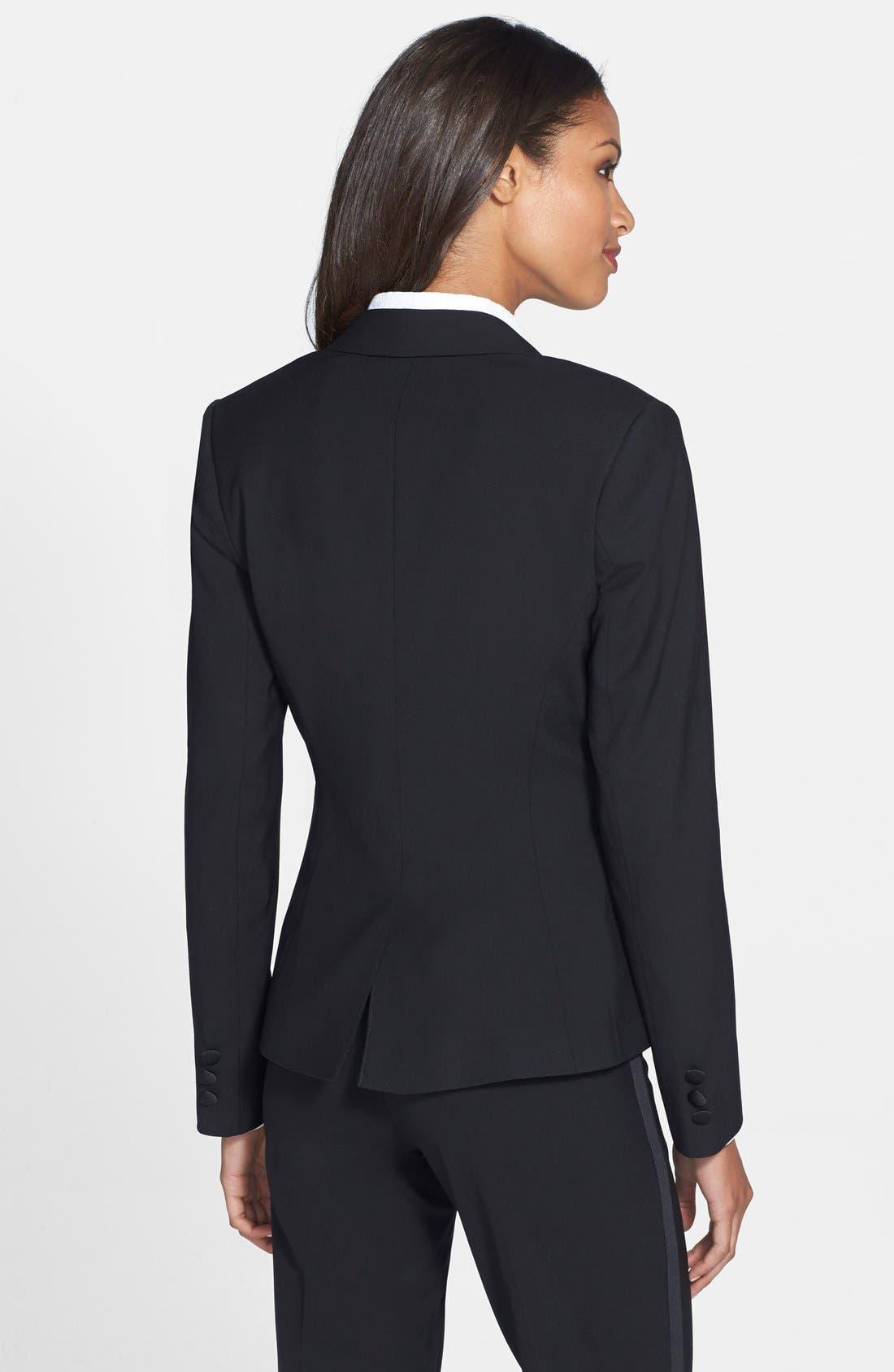 Stretch Wool Tuxedo Jacket,                             Alternate thumbnail 5, color,                             BLACK