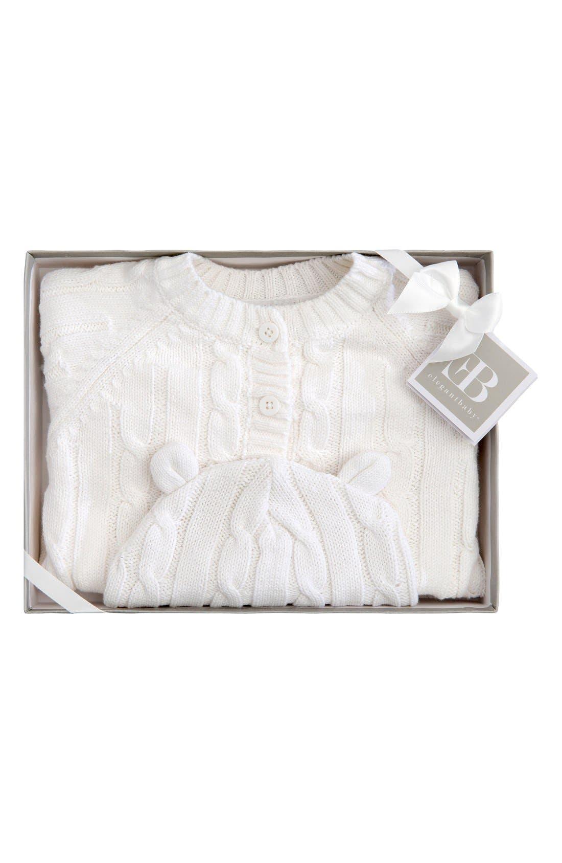 Cable Knit Sweater & Hat Set,                             Alternate thumbnail 2, color,                             WHITE