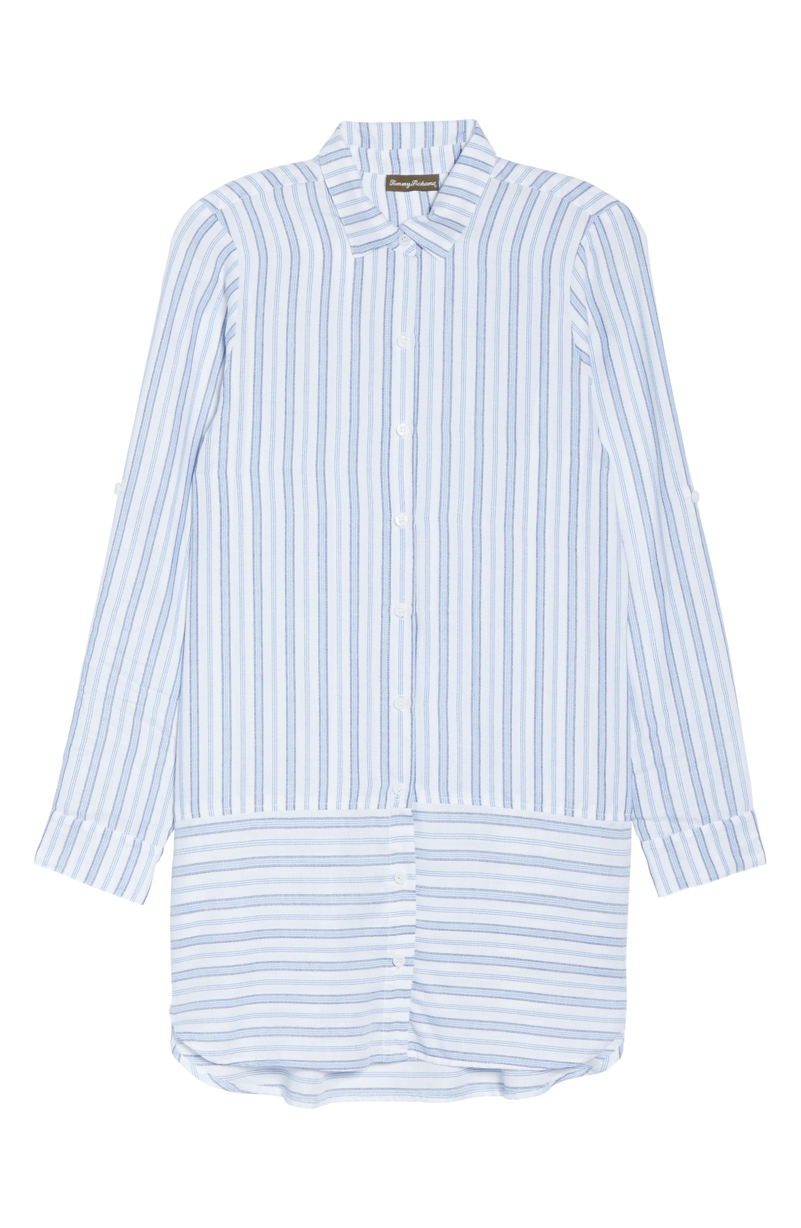Ticking Stripe Cover-Up Shirtdress,                             Alternate thumbnail 6, color,                             100