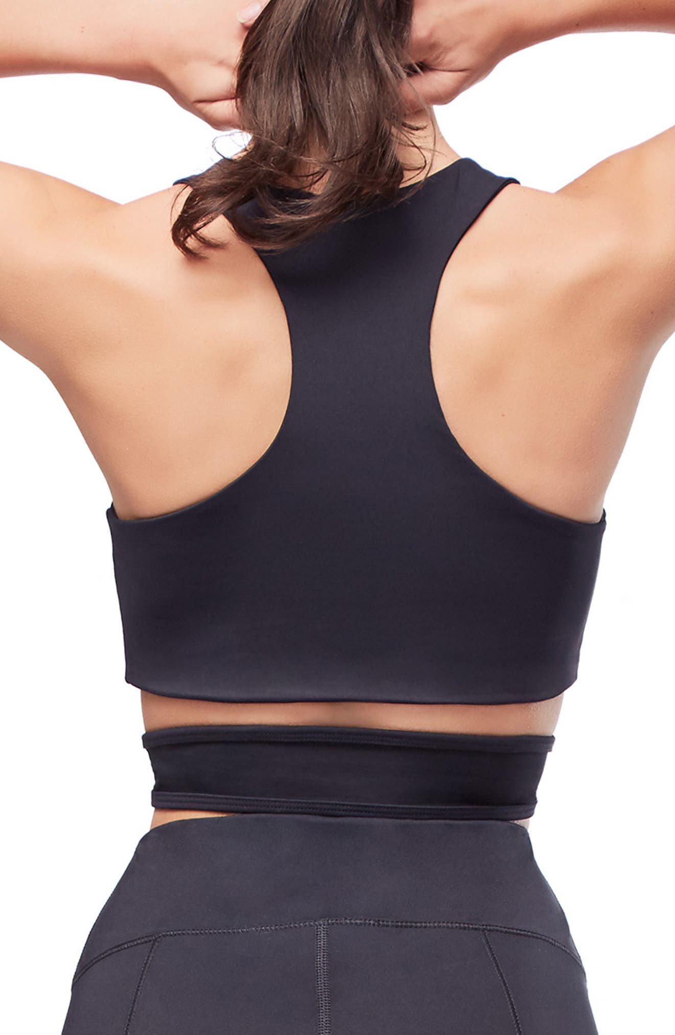Lace Sports Bra,                             Alternate thumbnail 3, color,                             BLACK001