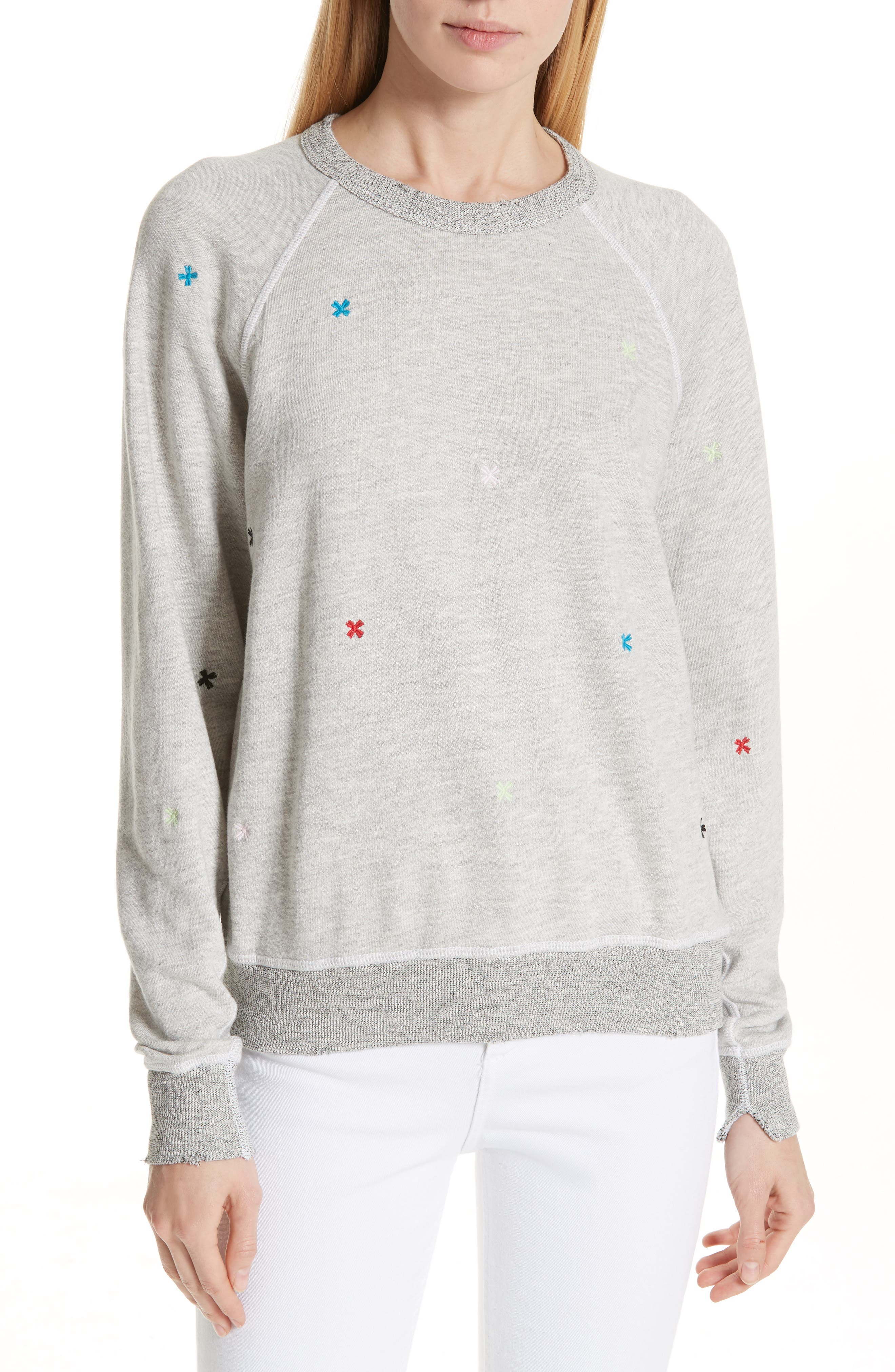 The College Embroidered Sweatshirt,                         Main,                         color, HEATHER GREY/ MULTI