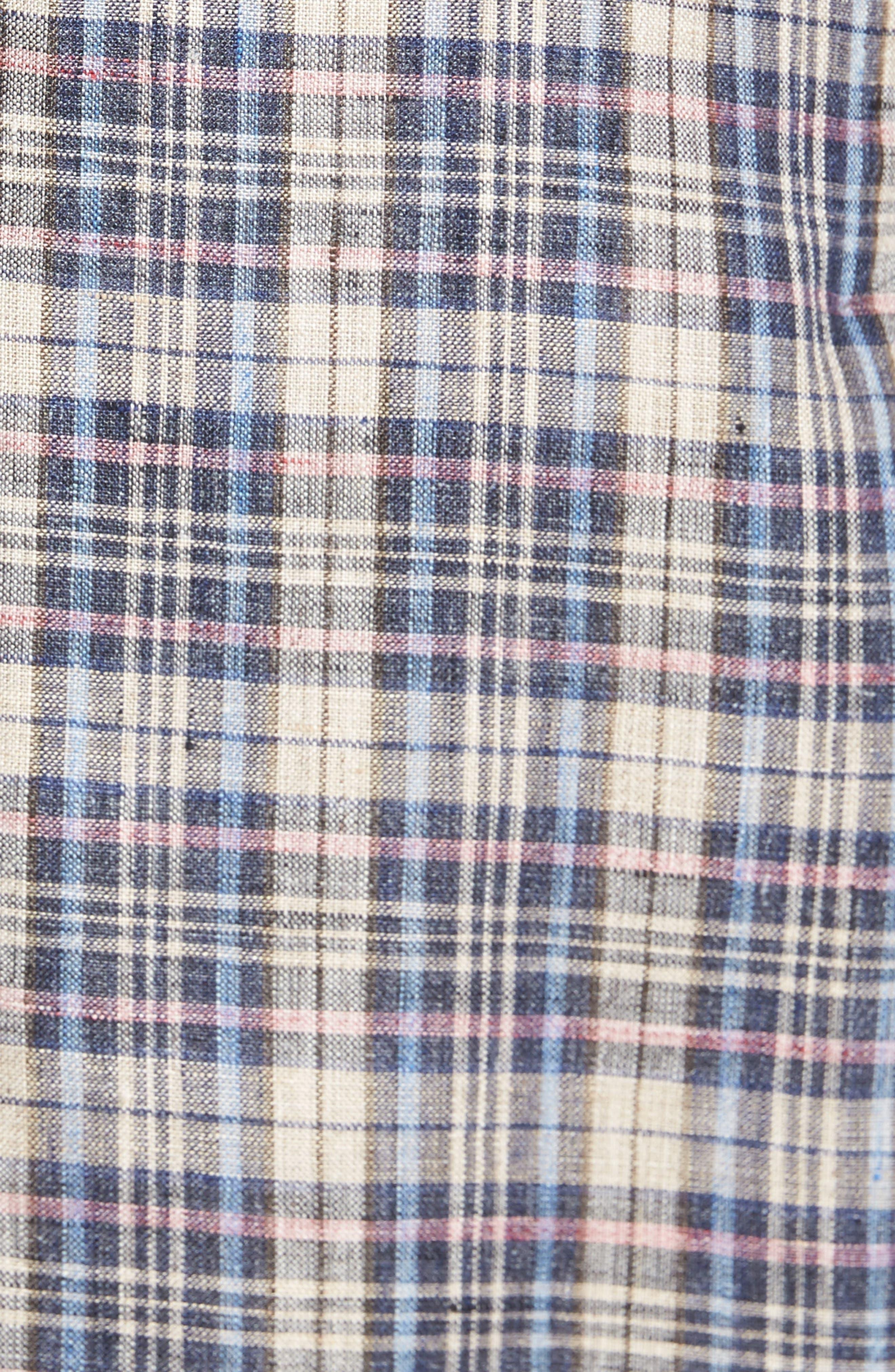Trim Fit Plaid Linen Sport Coat,                             Alternate thumbnail 6, color,                             250