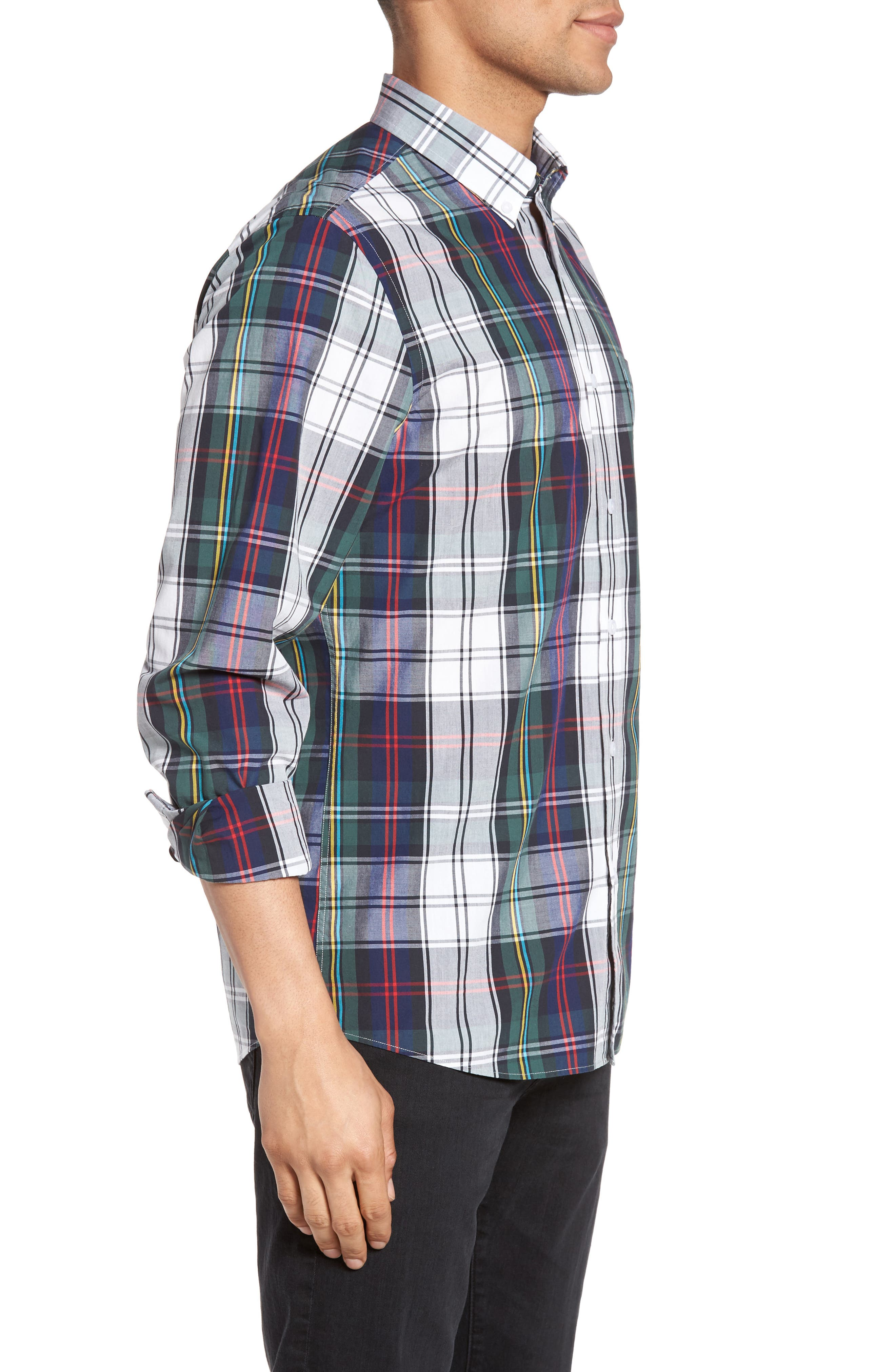 Slim Fit Plaid Sport Shirt,                             Alternate thumbnail 3, color,                             401