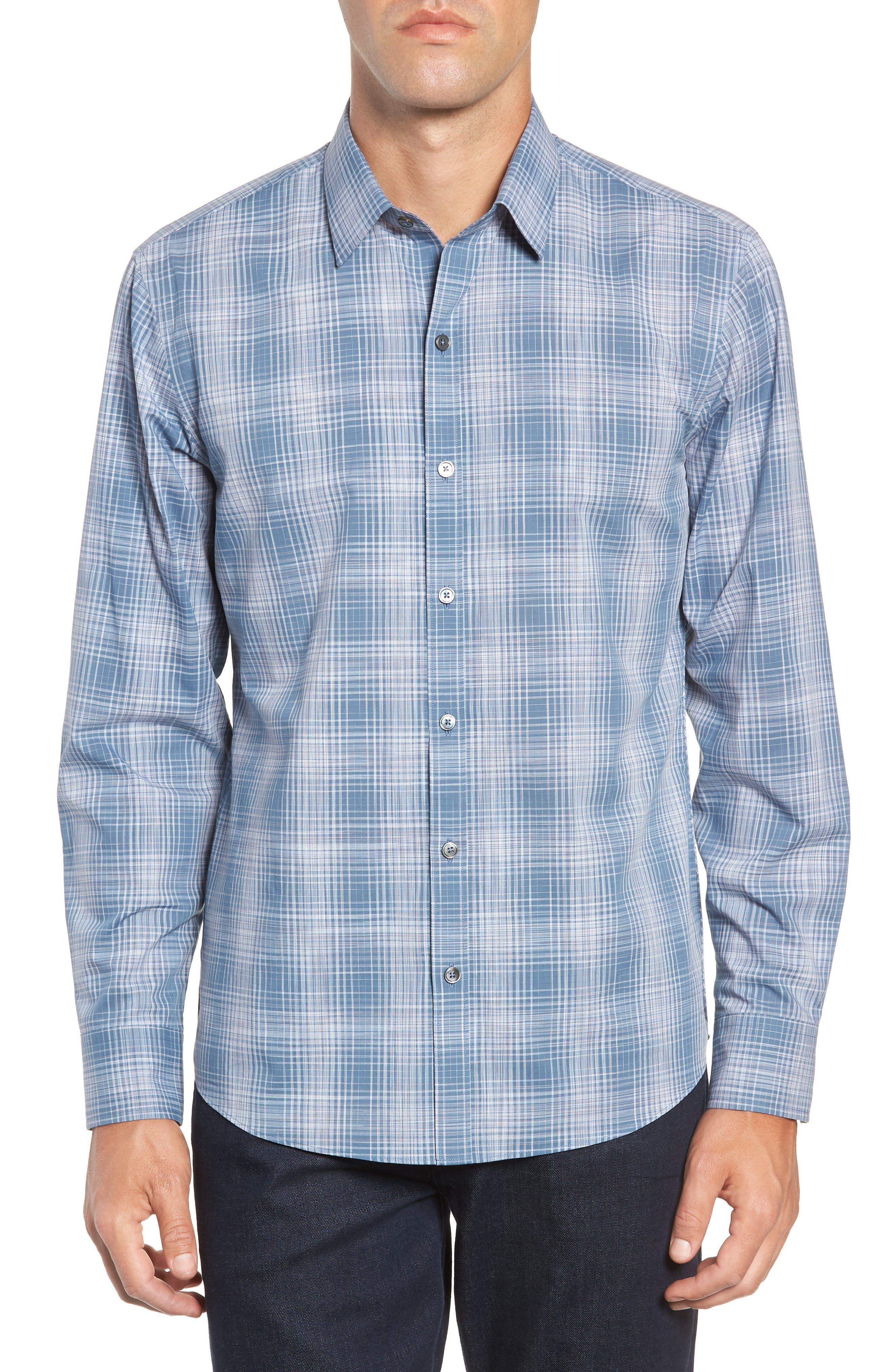Slater Check Sport Shirt,                             Main thumbnail 1, color,                             PALE BLUE