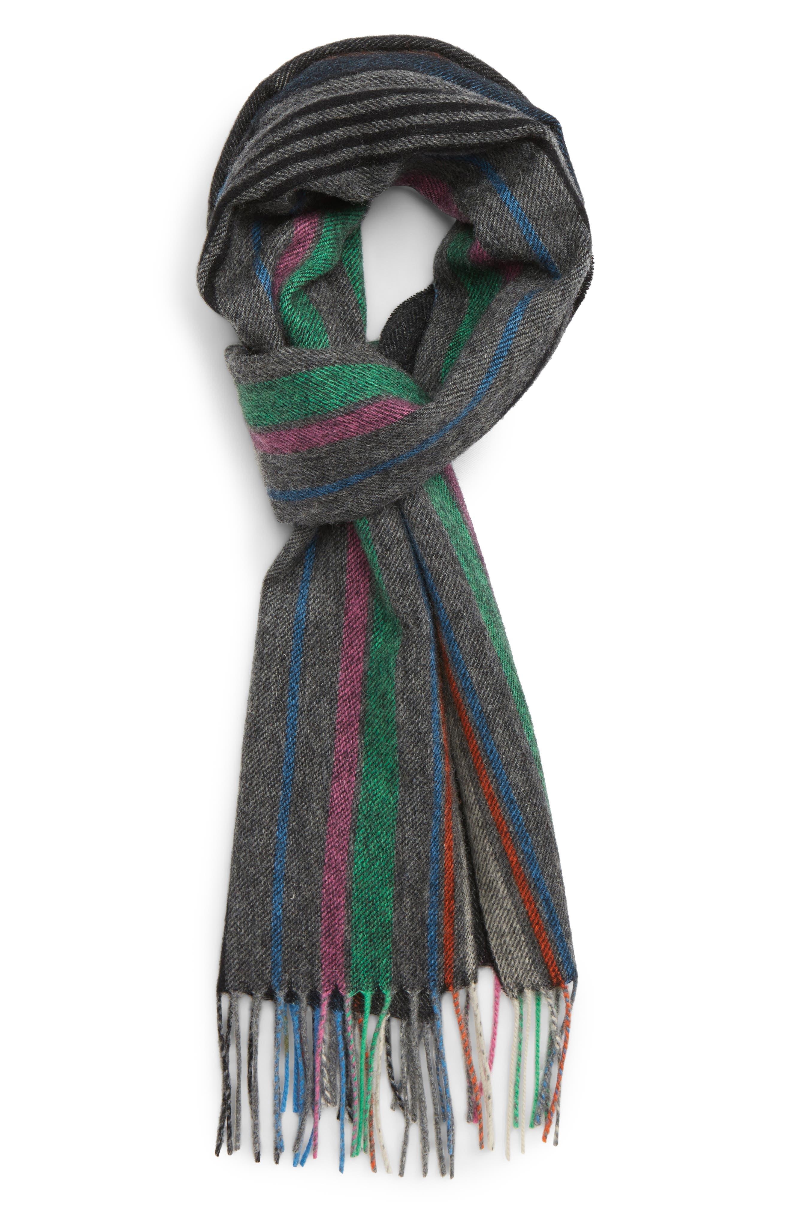 Stripe Wool Scarf,                             Main thumbnail 1, color,                             028
