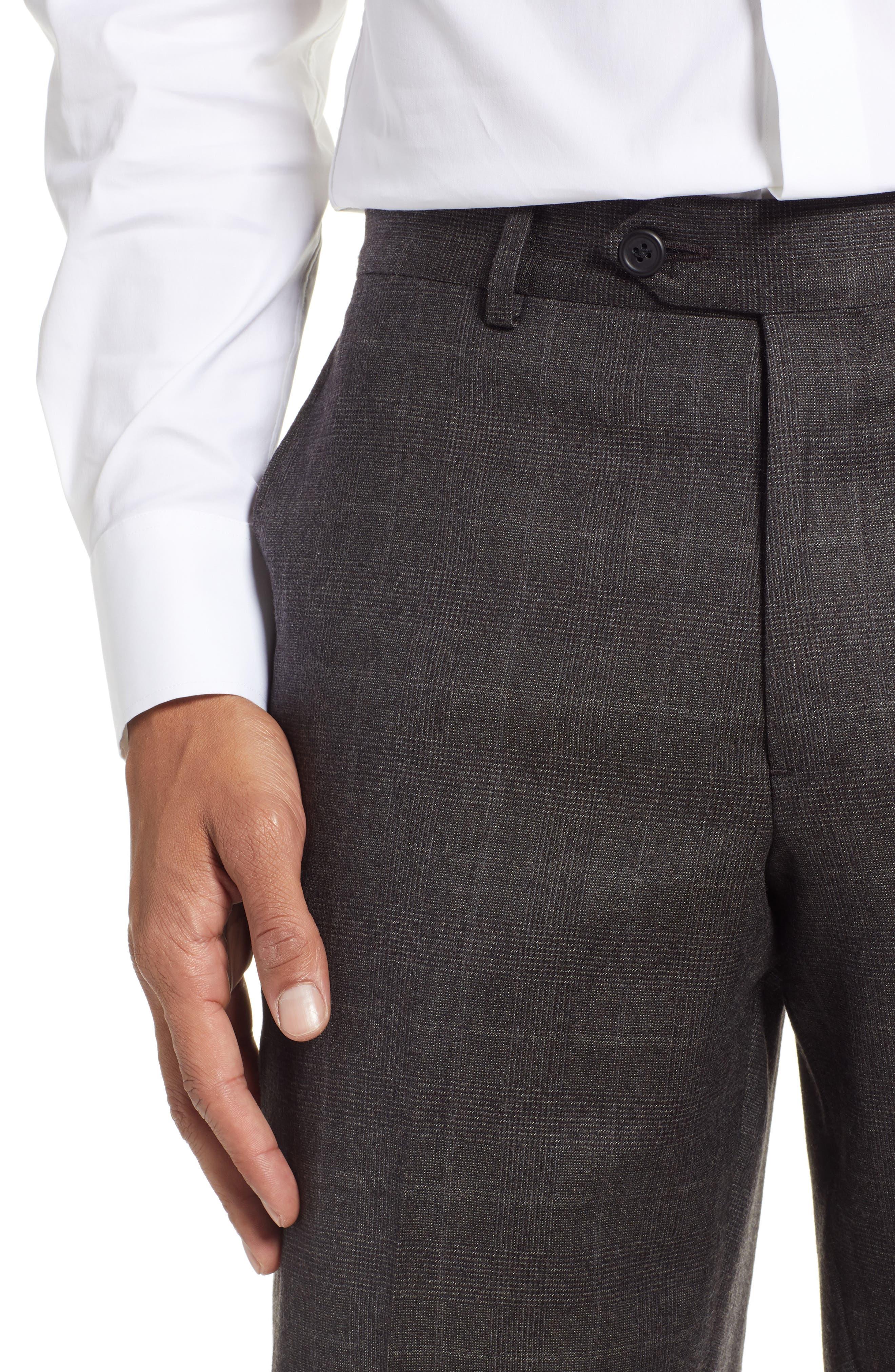 Trim Fit Flat Front Wool Trousers,                             Alternate thumbnail 4, color,                             BLACK