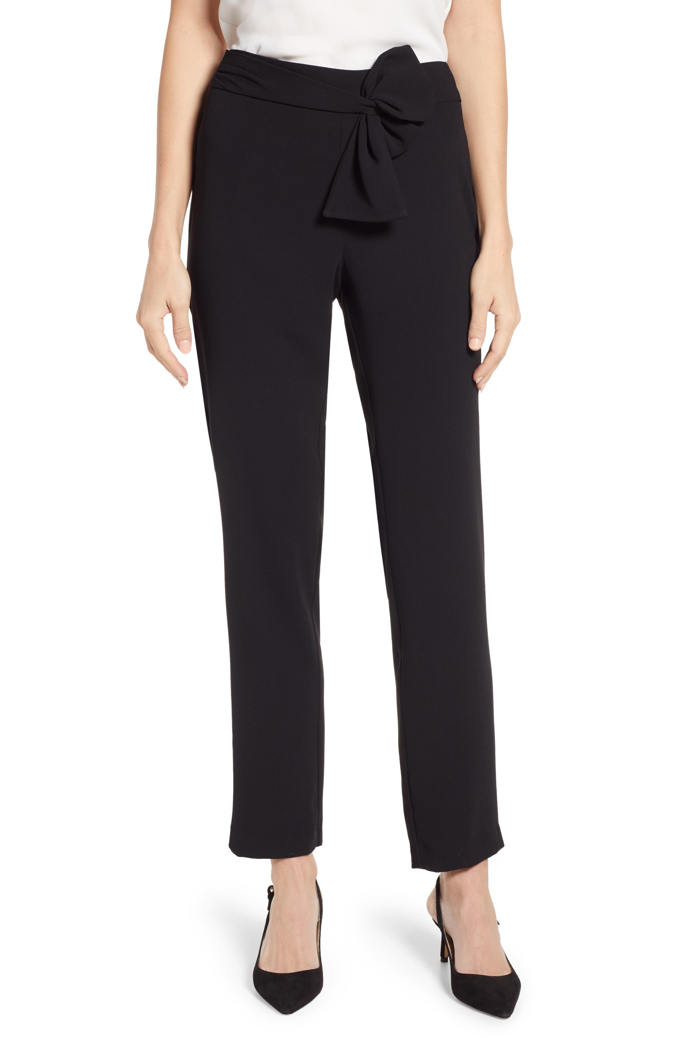 Tie Waist Moss Crepe Pants, Main, color, RICH BLACK