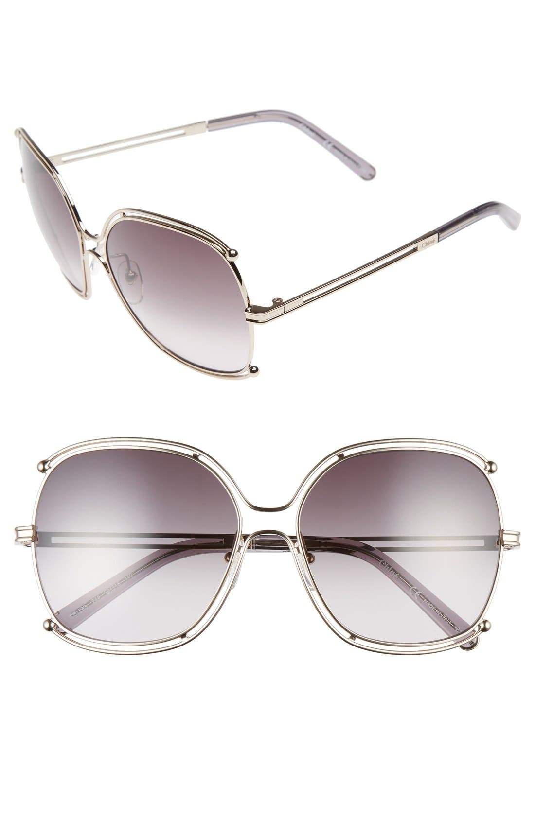 Isidora 59mm Square Sunglasses,                             Main thumbnail 1, color,