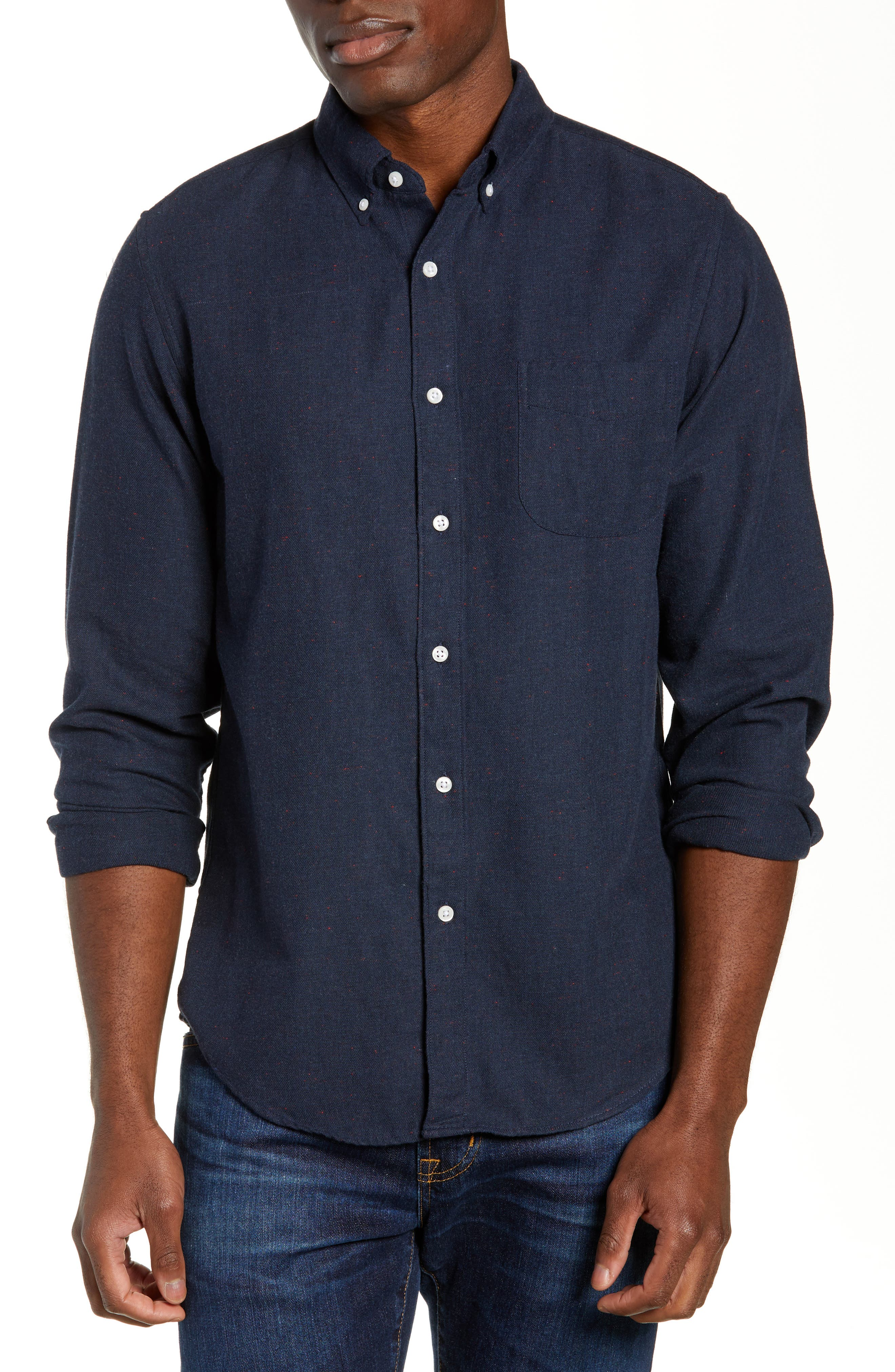 J.crew Slim Fit Neppy Twill Sport Shirt, Blue