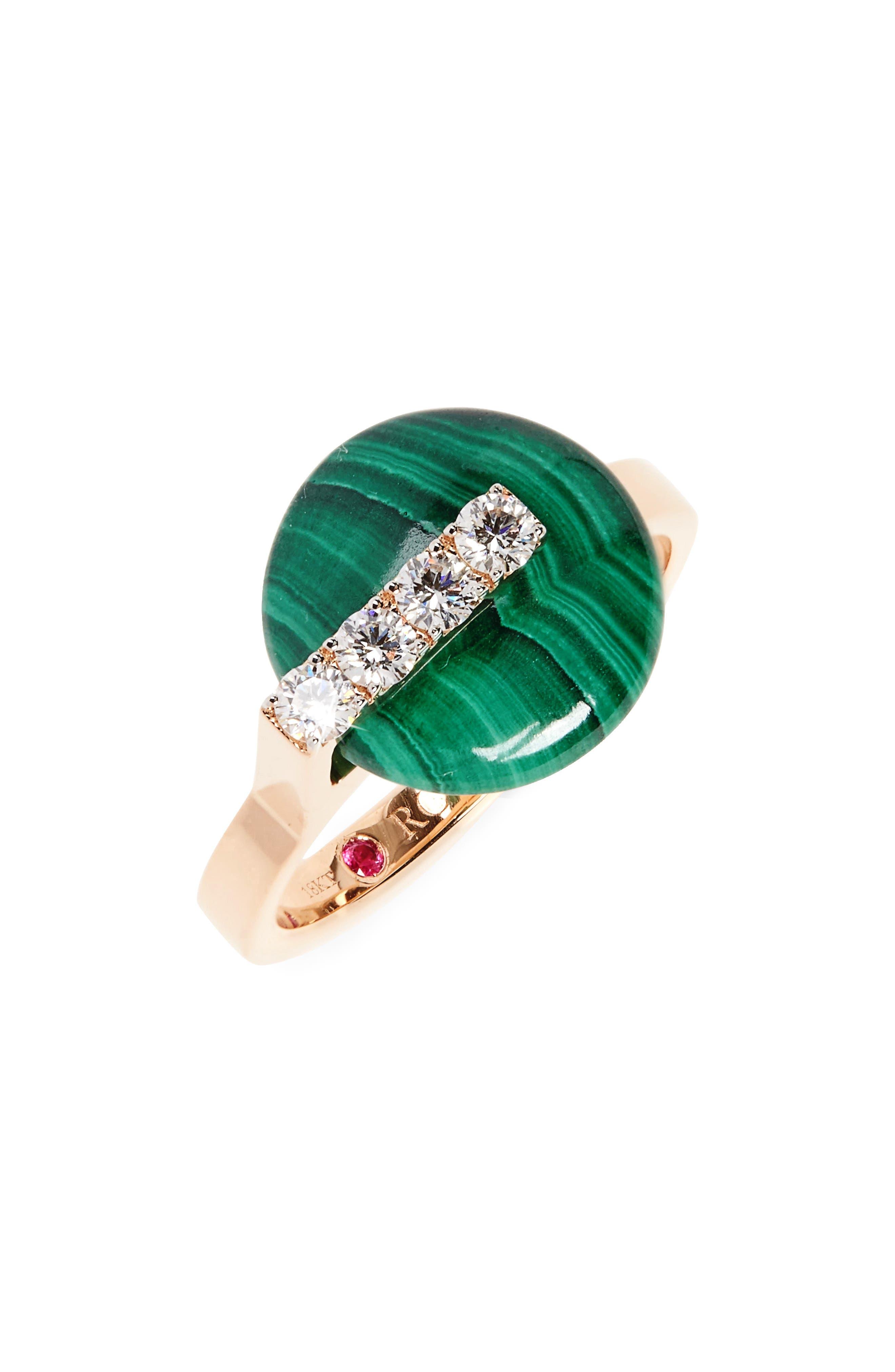 Jade Diamond Ring,                             Main thumbnail 1, color,                             D0.08 MA5.15 18KRG
