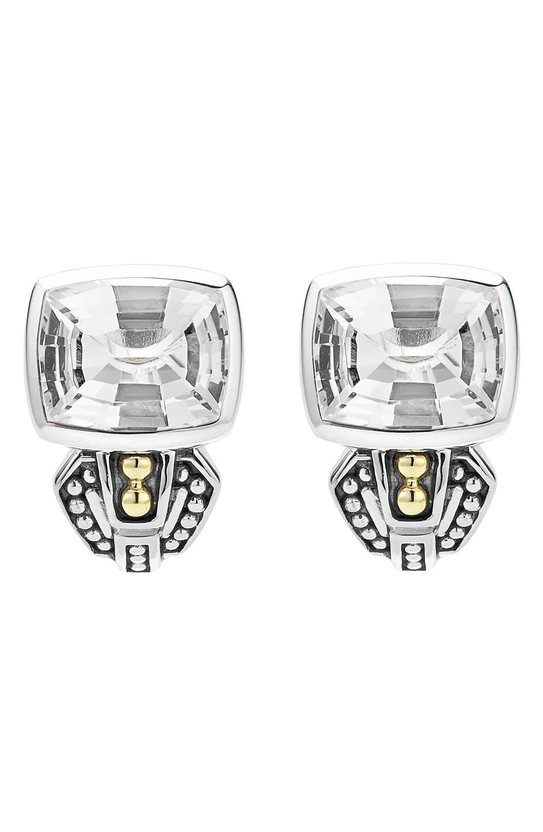 'Caviar Color' Semiprecious Stone Stud Earrings,                             Alternate thumbnail 2, color,                             WHITE TOPAZ