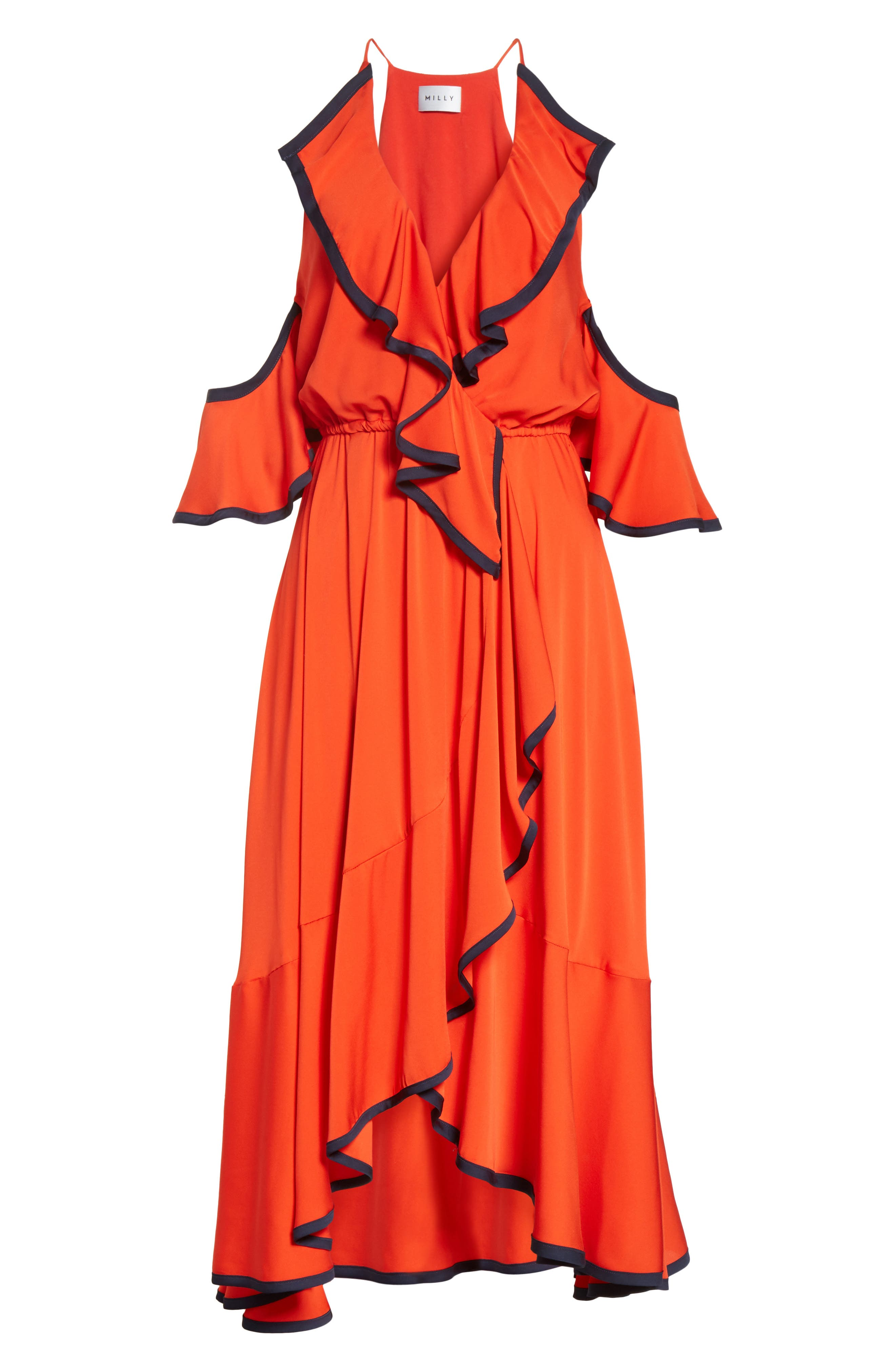 Bryce Ruffle Stretch Silk Fit & Flare Dress,                             Alternate thumbnail 6, color,                             635