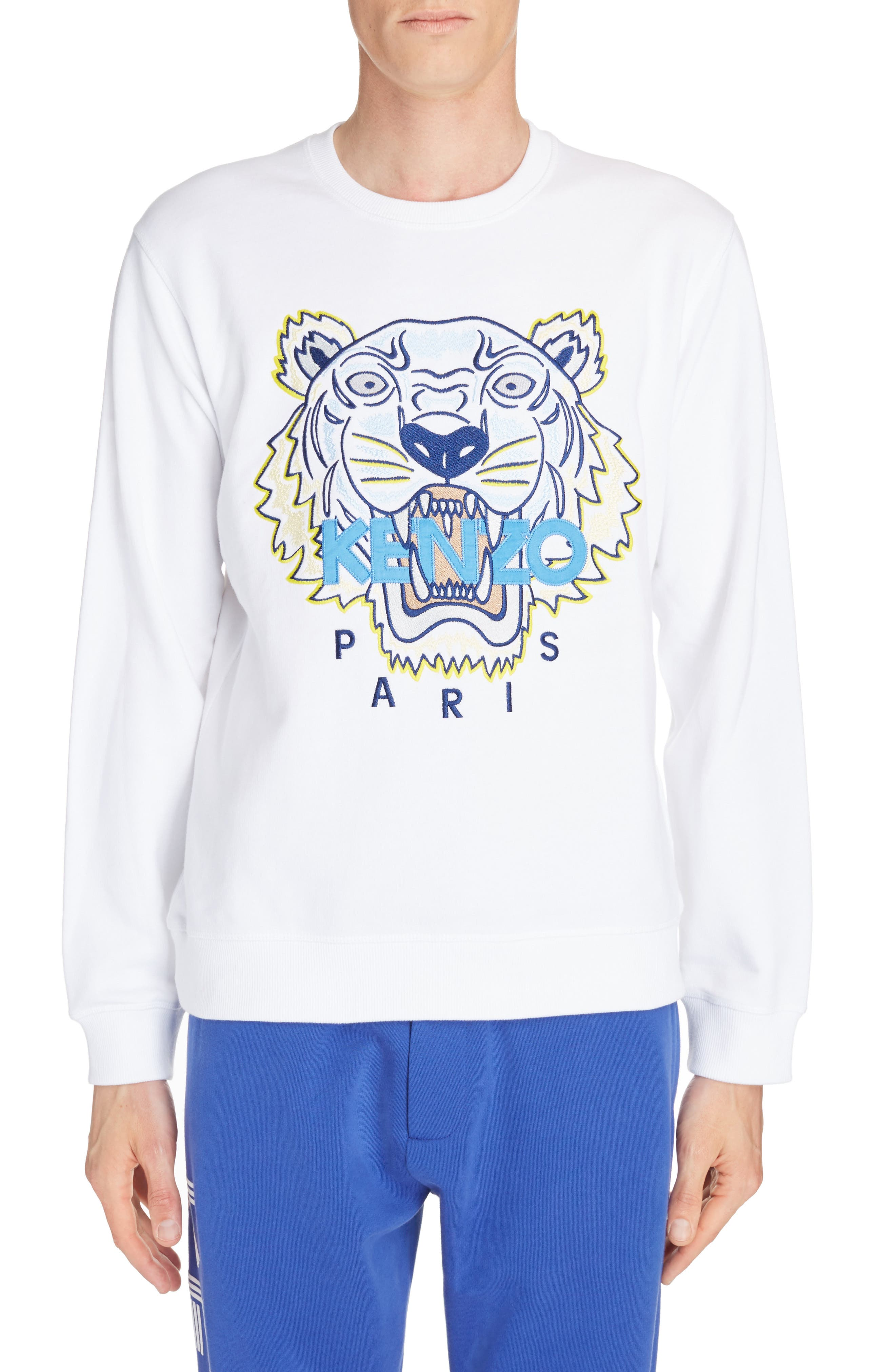 Embroidered Tiger Sweatshirt,                             Main thumbnail 1, color,                             WHITE