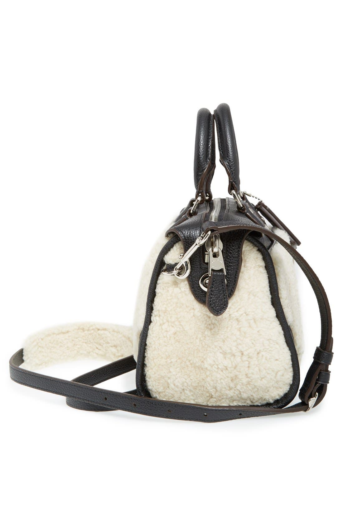 COACH,                             'Rhyder 24' Genuine Shearling & Leather Satchel,                             Alternate thumbnail 6, color,                             900