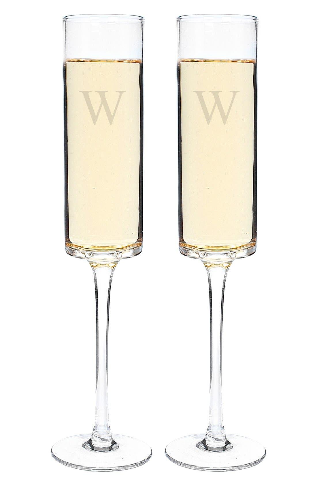 'Contemporary' Monogram Champagne Flutes,                             Alternate thumbnail 3, color,                             123