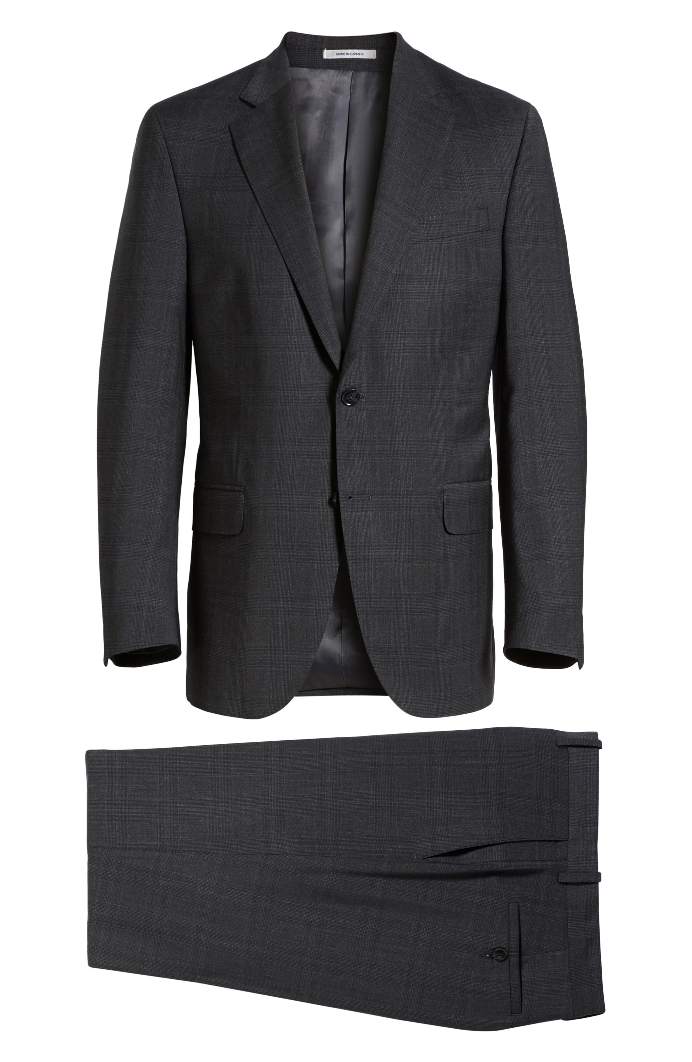 Flynn Classic Fit Plaid Wool Suit,                             Alternate thumbnail 8, color,                             CHARCOAL