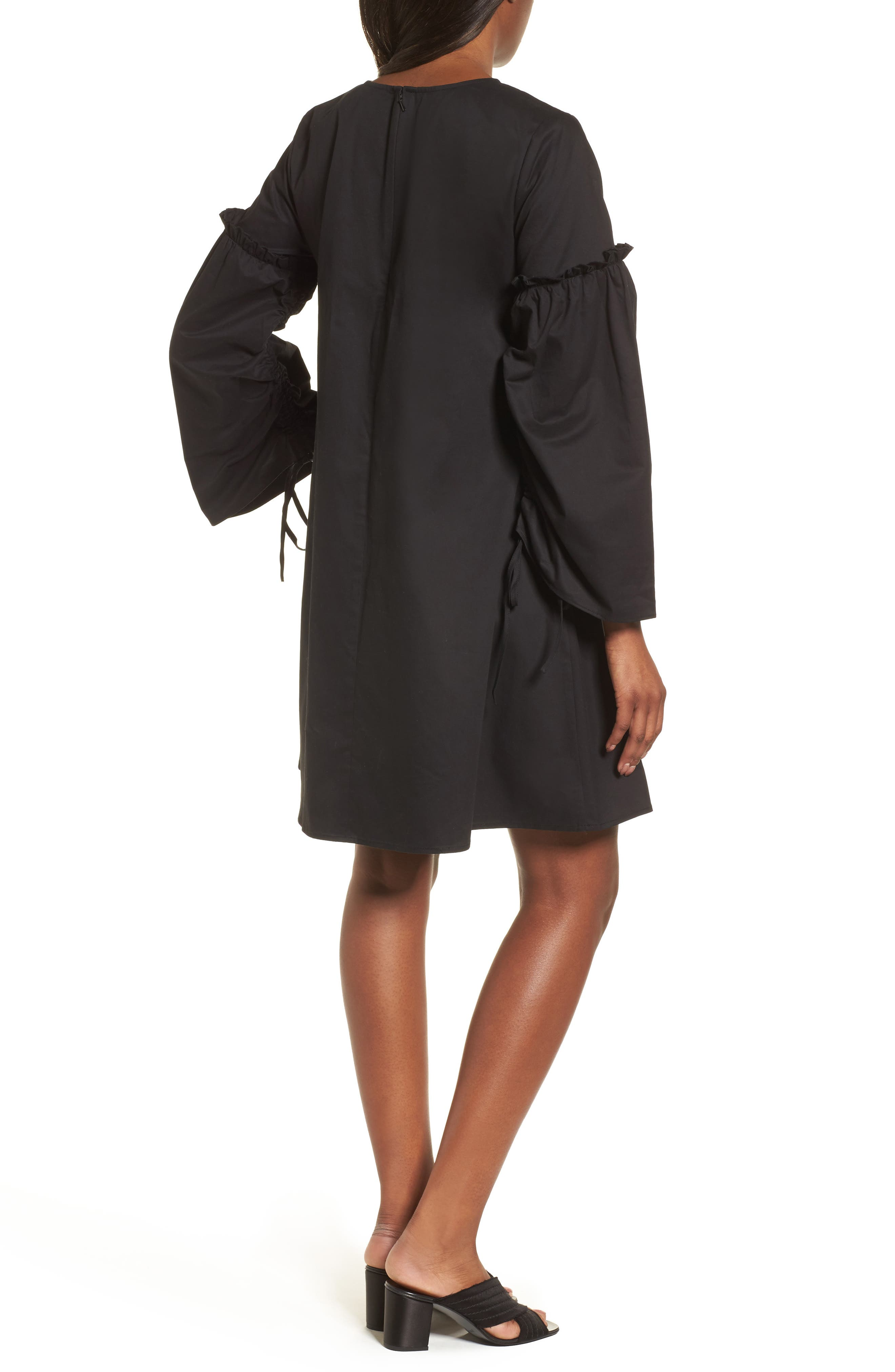 Parachute Sleeve Shift Dress,                             Alternate thumbnail 2, color,                             001