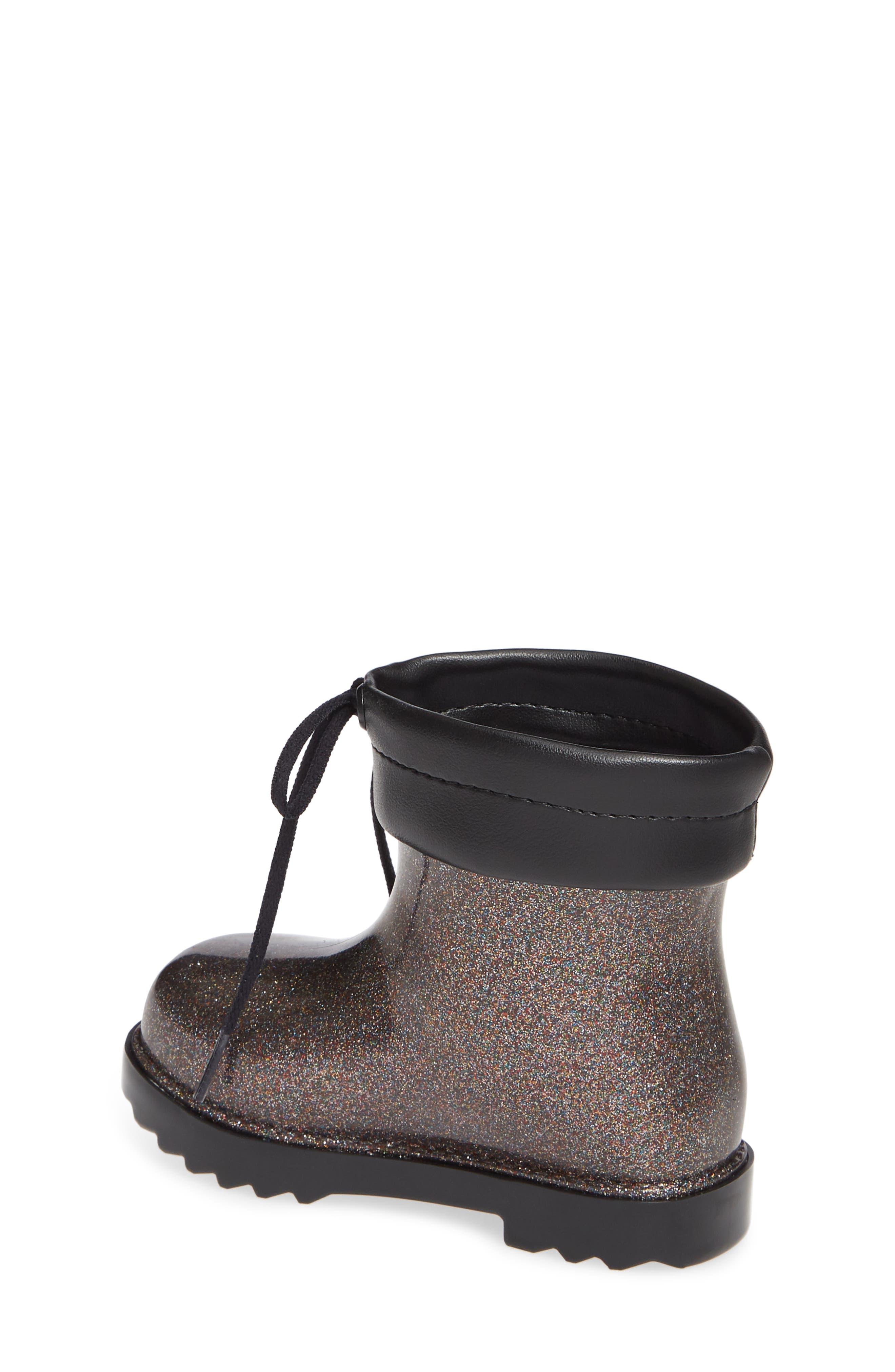 MINI MELISSA,                             Glitter Water Resistant Rain Bootie,                             Alternate thumbnail 2, color,                             BLACK GLITTER