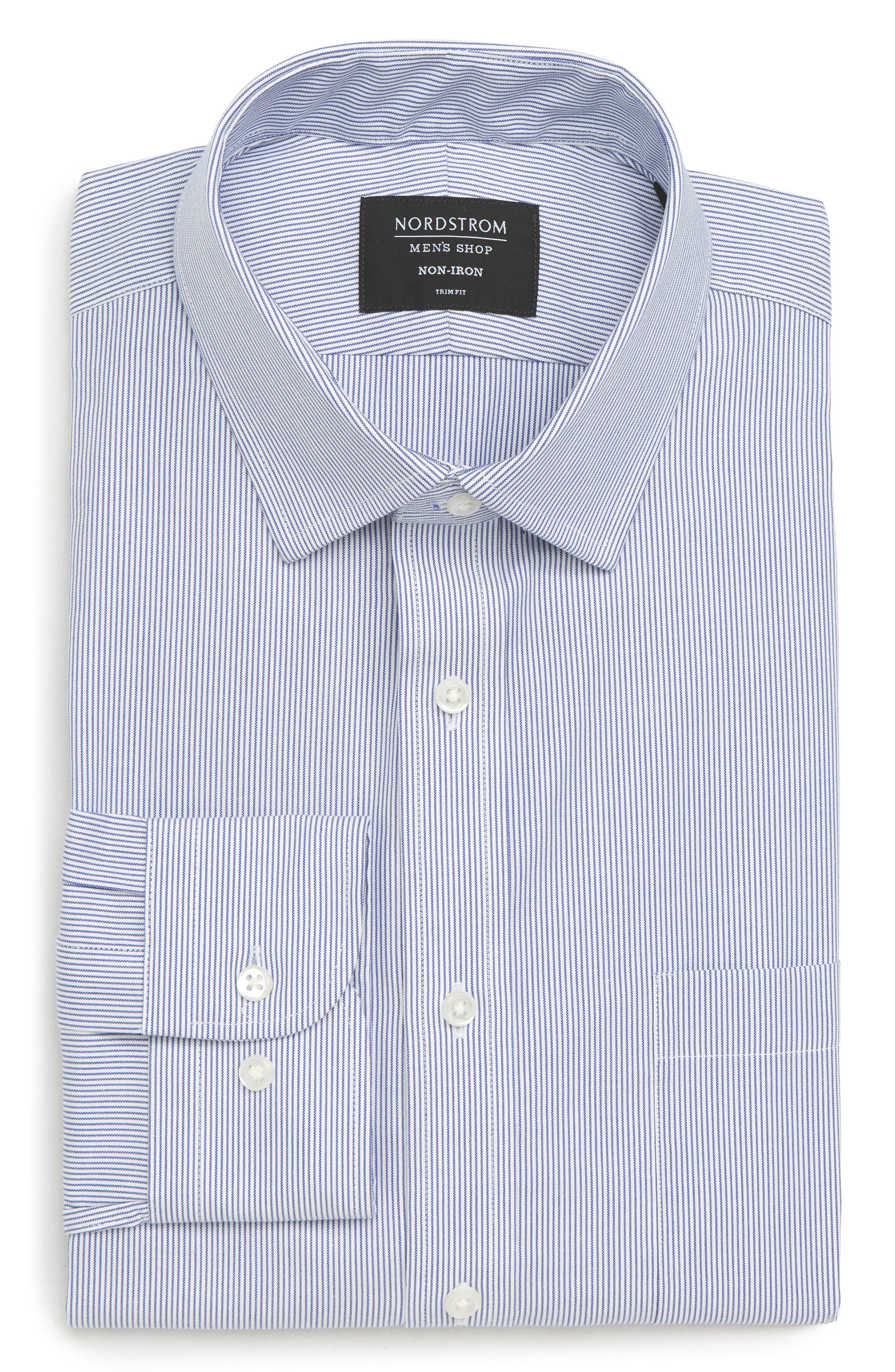 Trim Fit Non-Iron Stripe Dress Shirt,                             Alternate thumbnail 5, color,                             NAVY PATRIOT