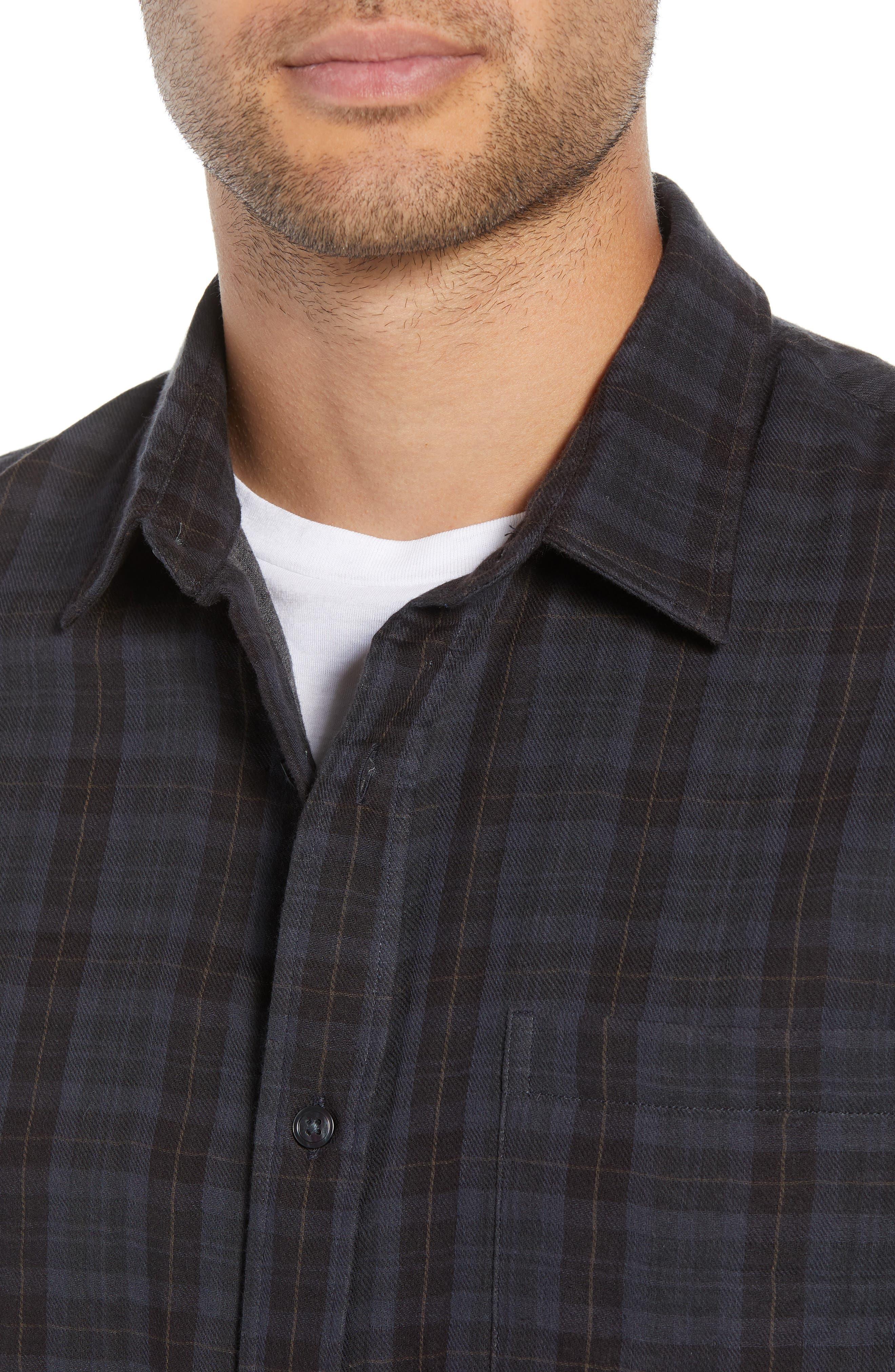 Slim Fit Plaid Double Knit Sport Shirt,                             Alternate thumbnail 2, color,                             SLATE