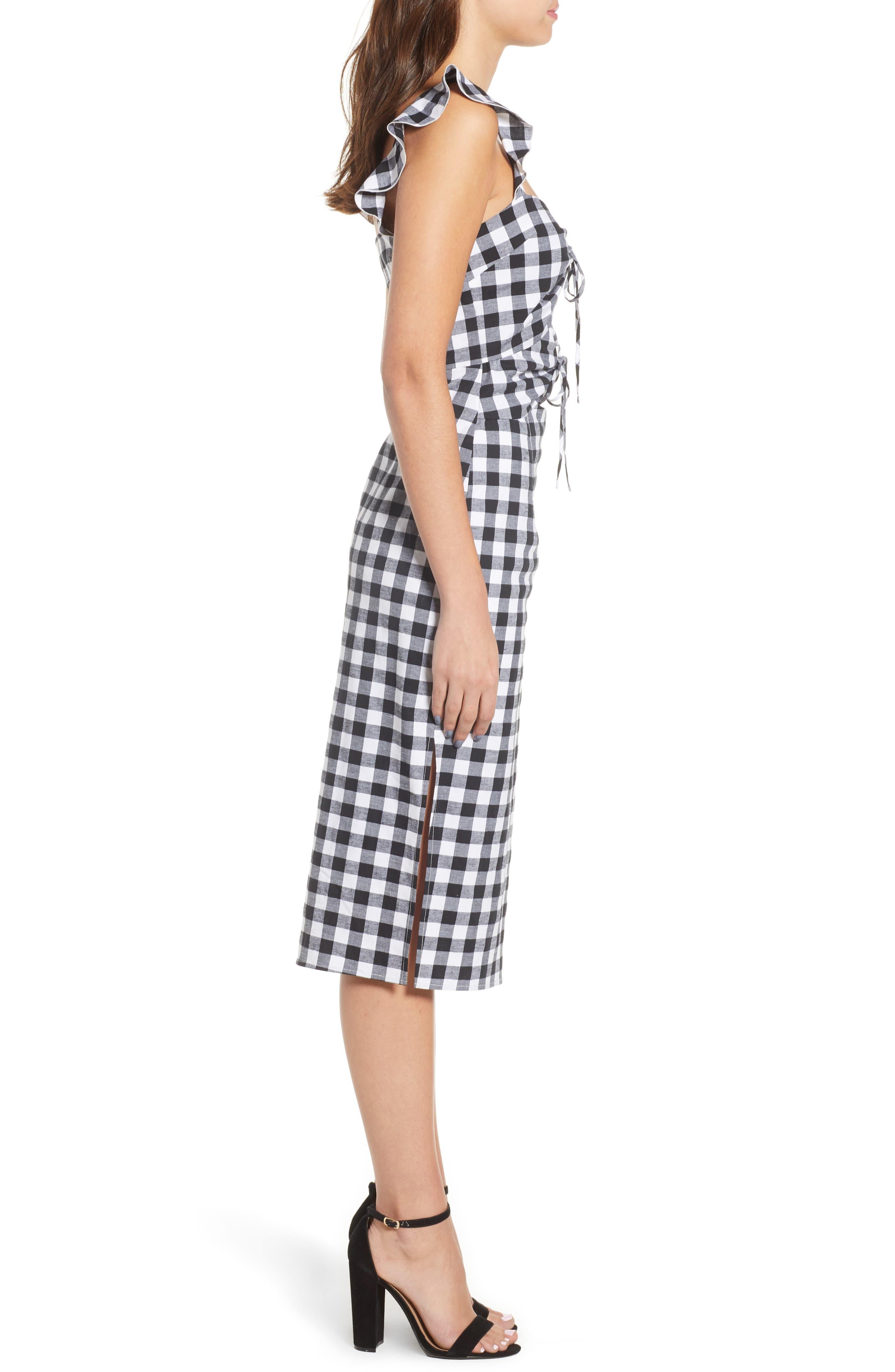 Verona Cutout Midi Dress,                             Alternate thumbnail 3, color,                             001