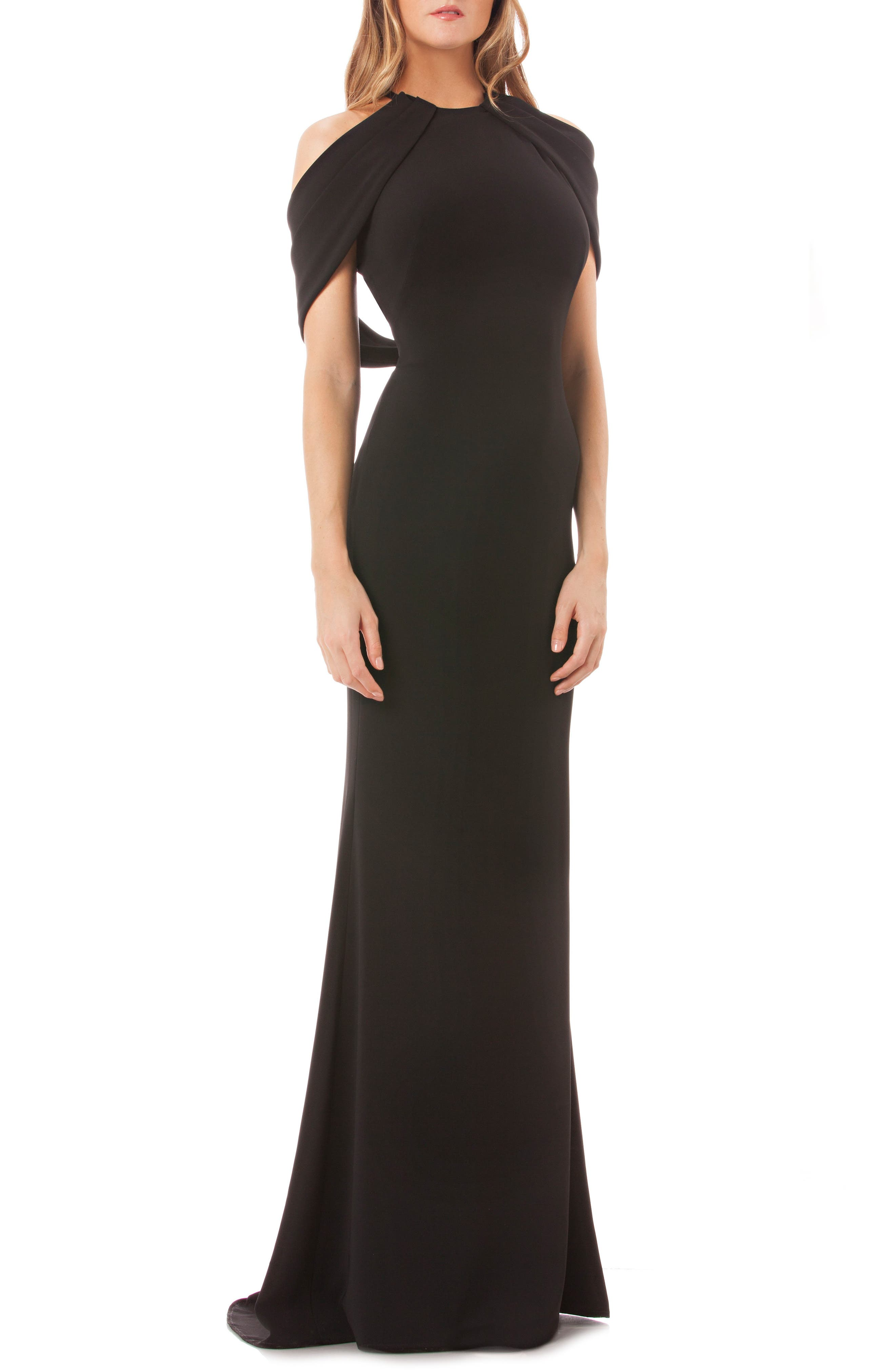 Carmen Marc Valvo Halter Neck Gown,                         Main,                         color, 001