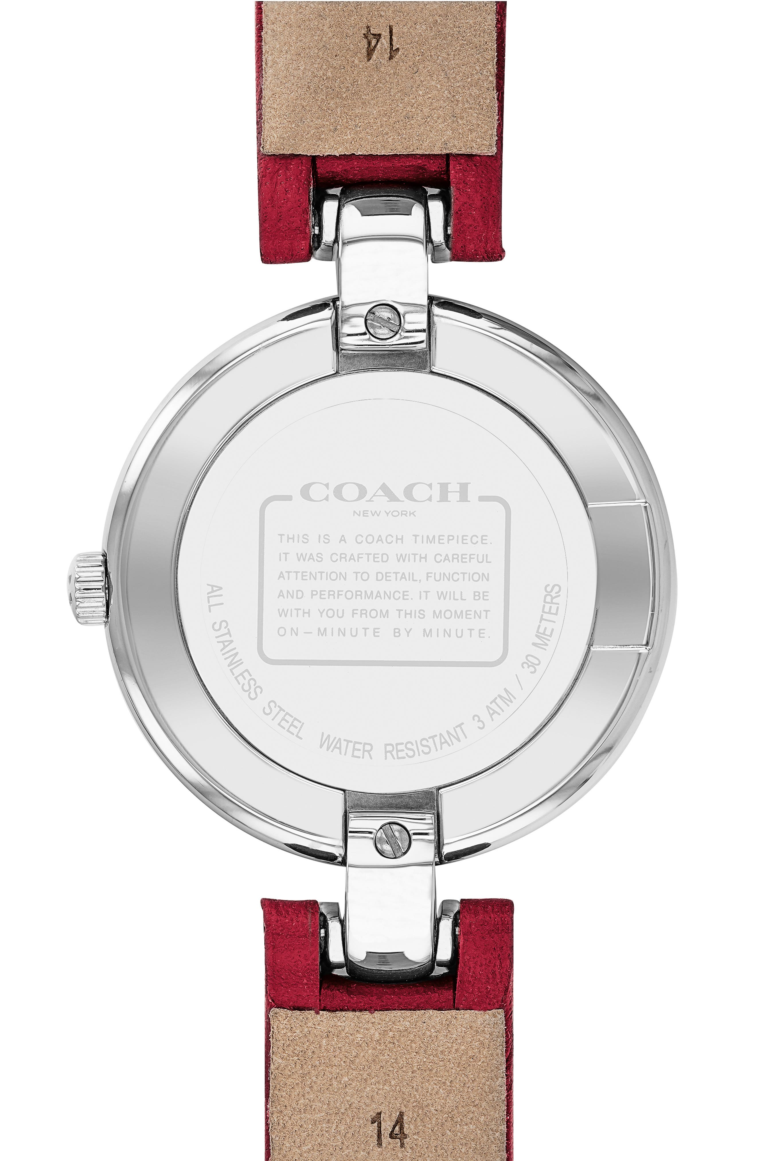 Chrystie Leather Strap Watch, 32mm,                             Alternate thumbnail 2, color,                             RED/ SILVER
