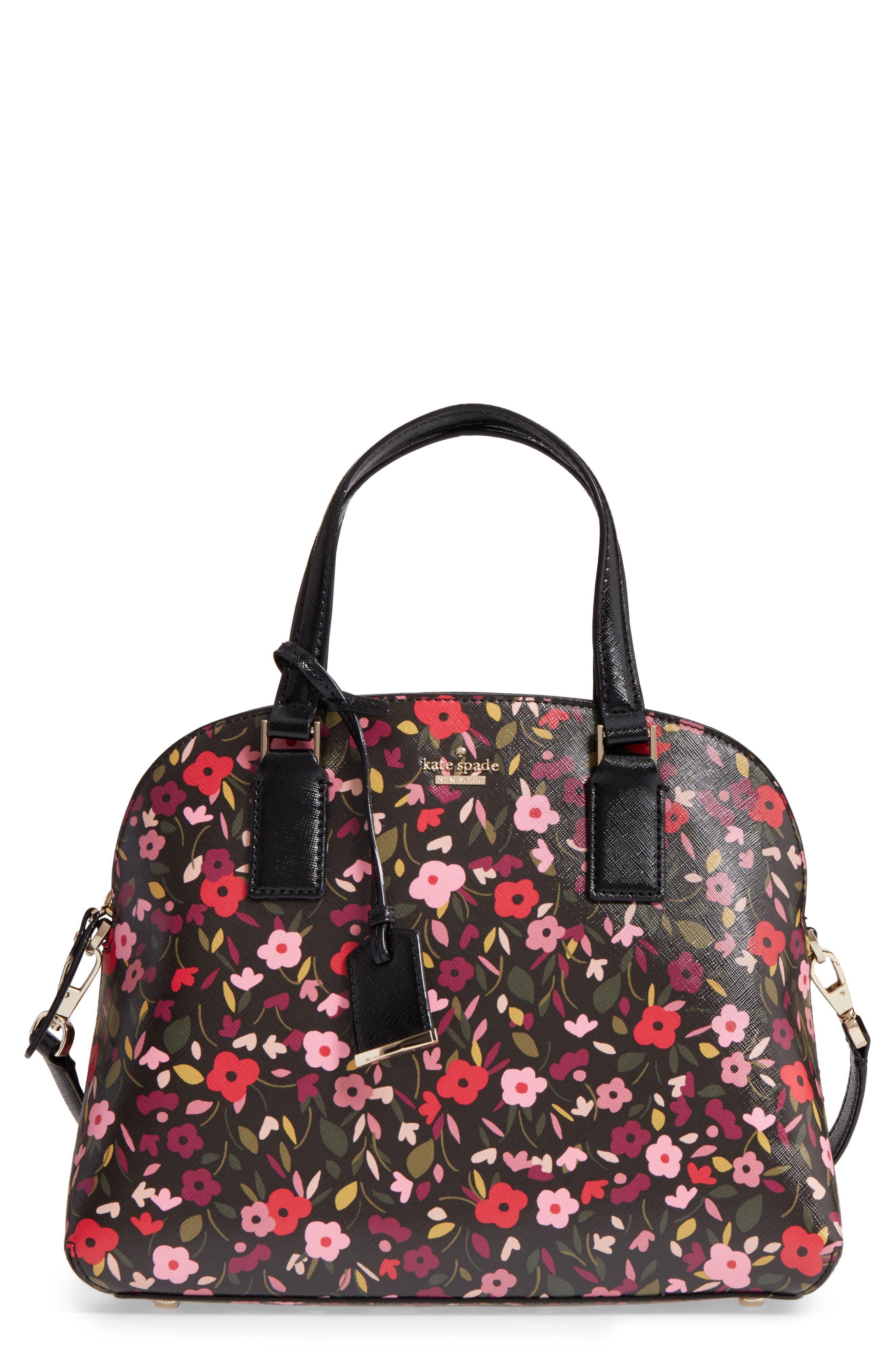 cameron street boho floral- lottie leather satchel,                             Main thumbnail 1, color,                             001