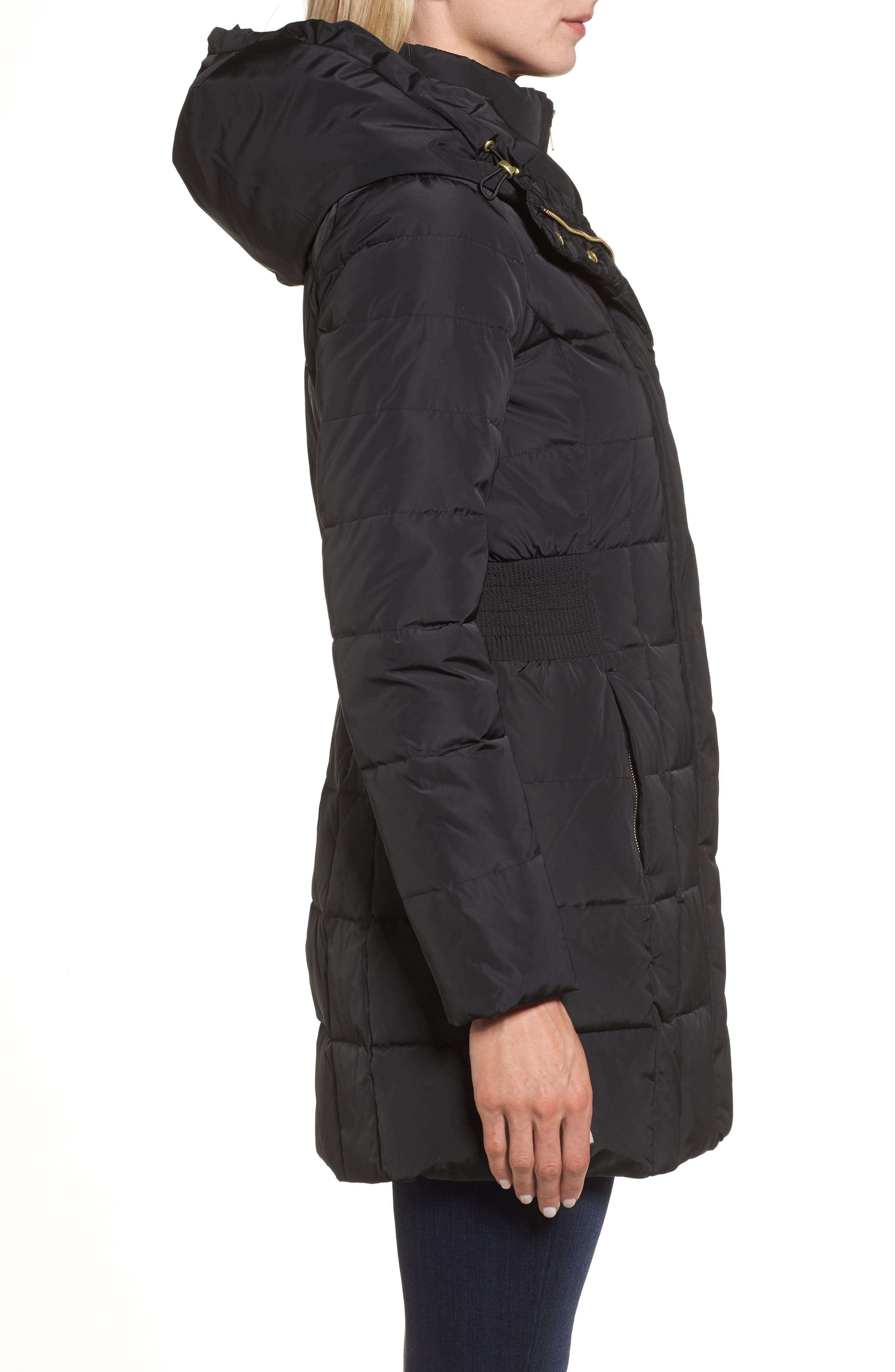 Cole Haan Hooded Down & Feather Jacket,                             Alternate thumbnail 3, color,                             BLACK