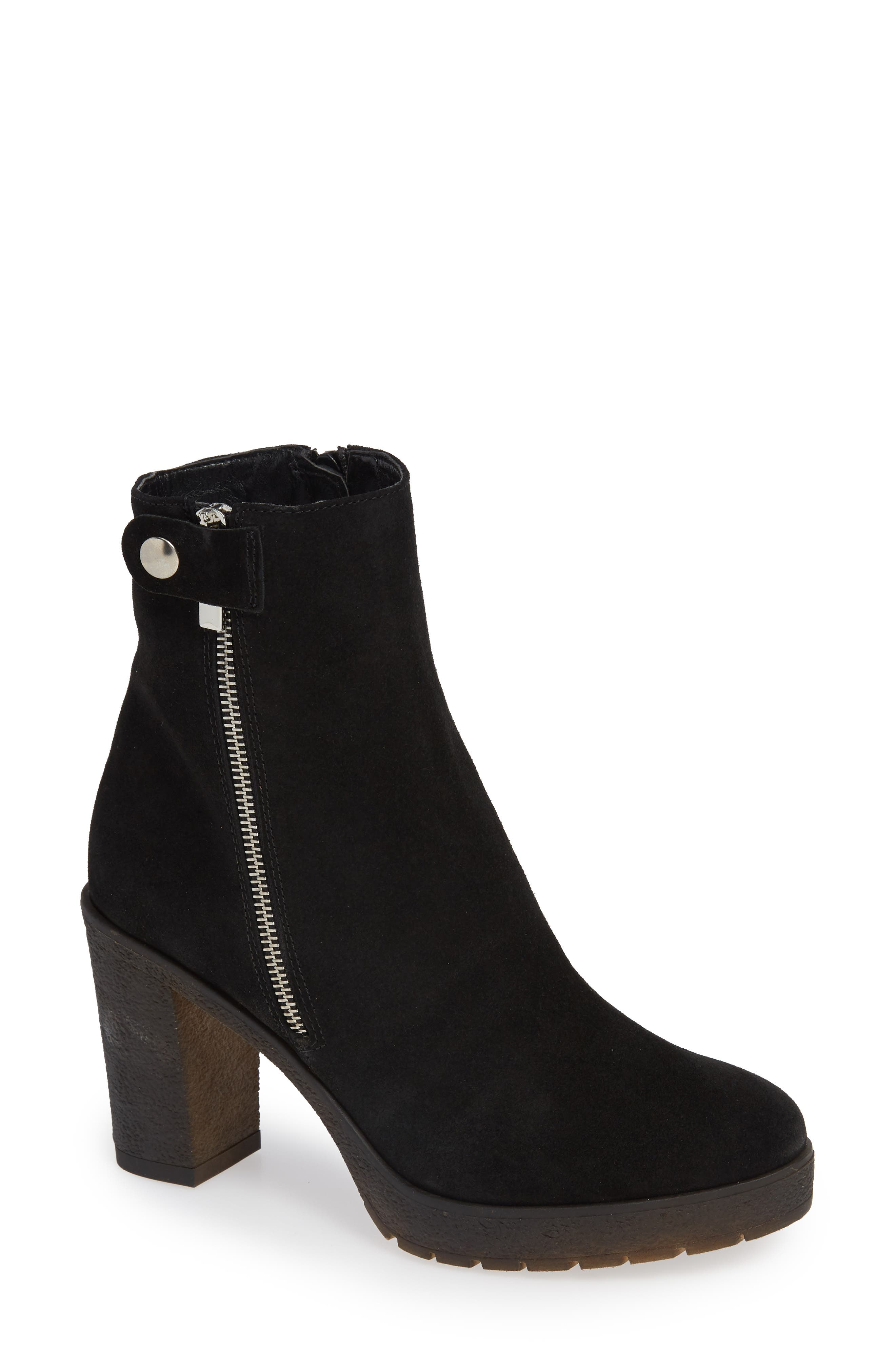 AMALFI BY RANGONI Lupetto Side Zip Bootie in Black Suede