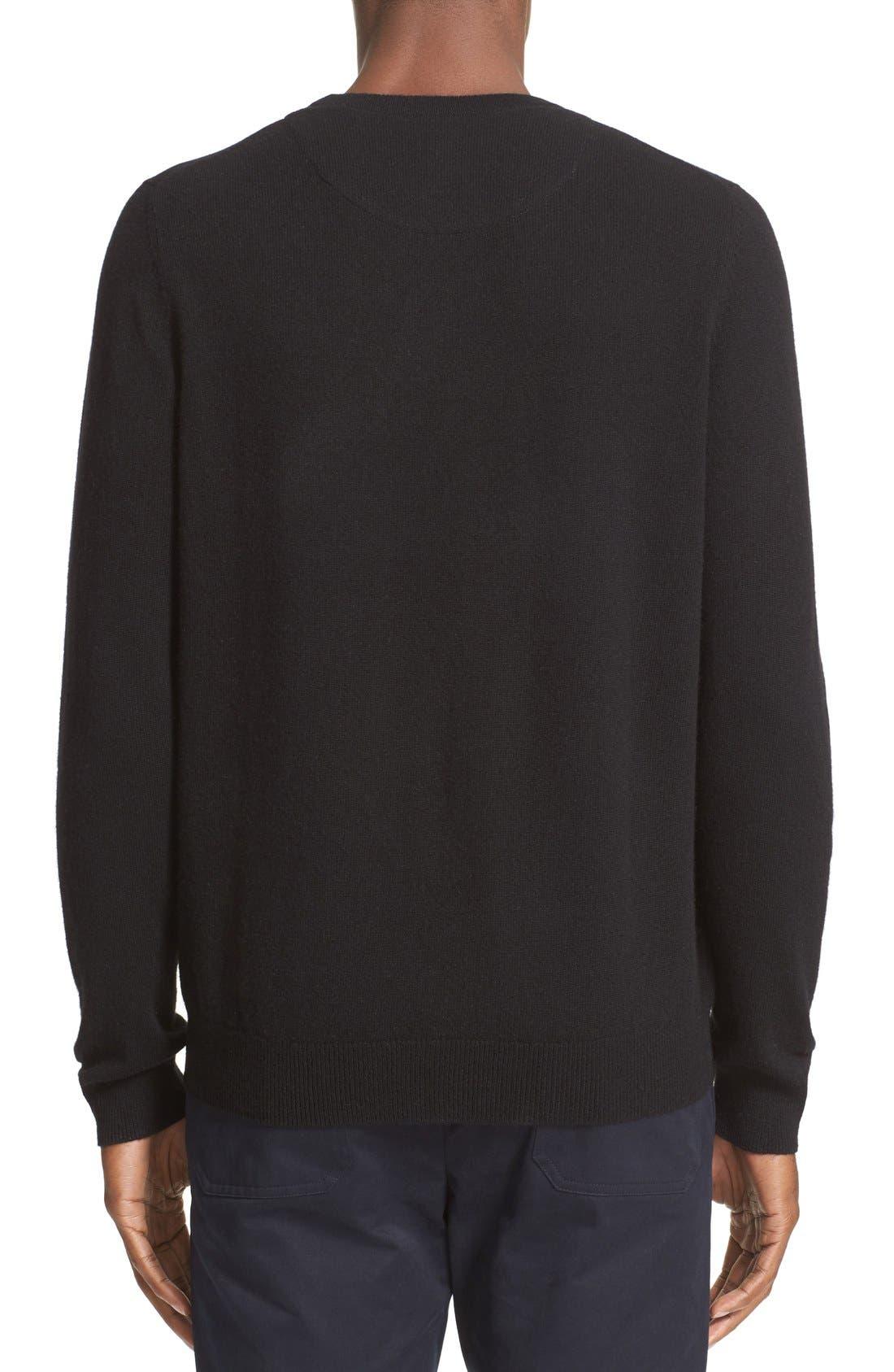 Cashmere Crewneck Sweater,                             Alternate thumbnail 6, color,                             BLACK CAVIAR