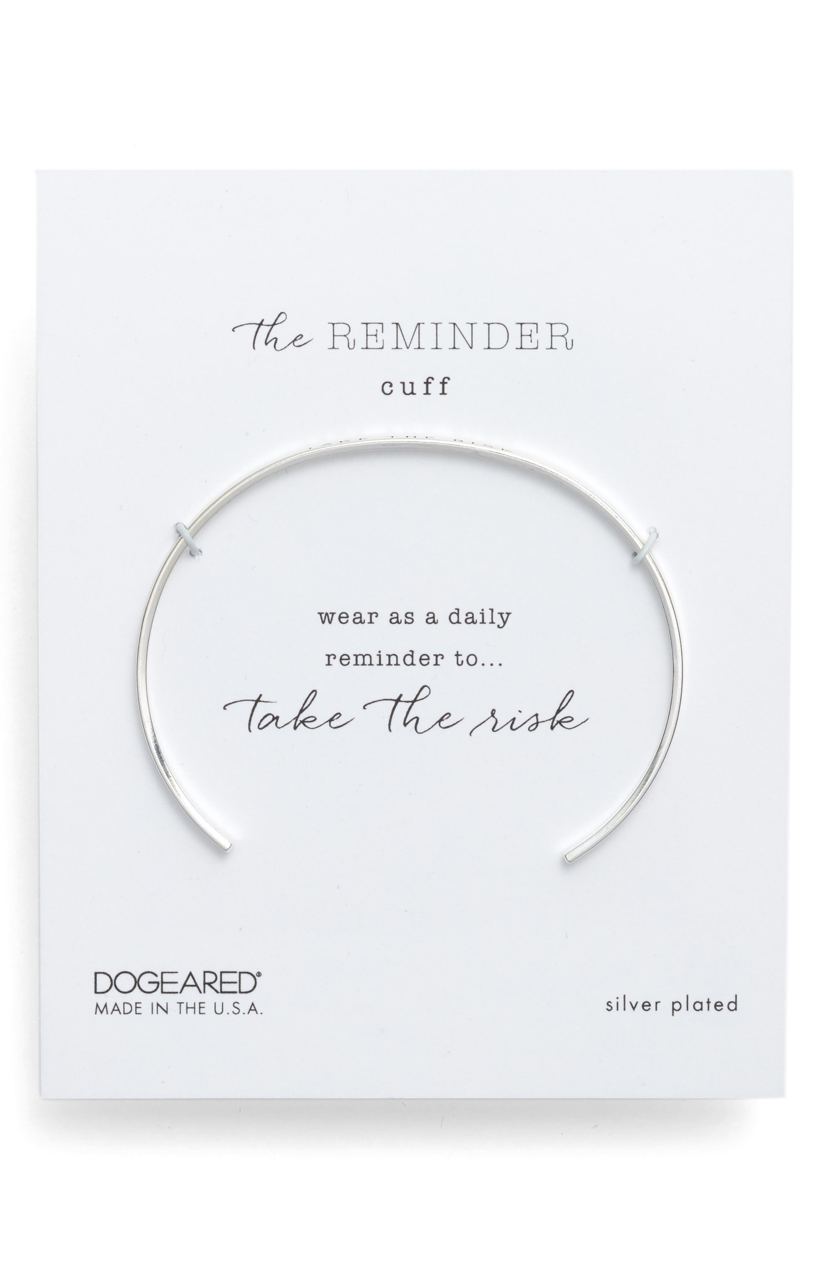 DOGEARED Take The Risk Thin Cuff Bracelet in Sterling Silver