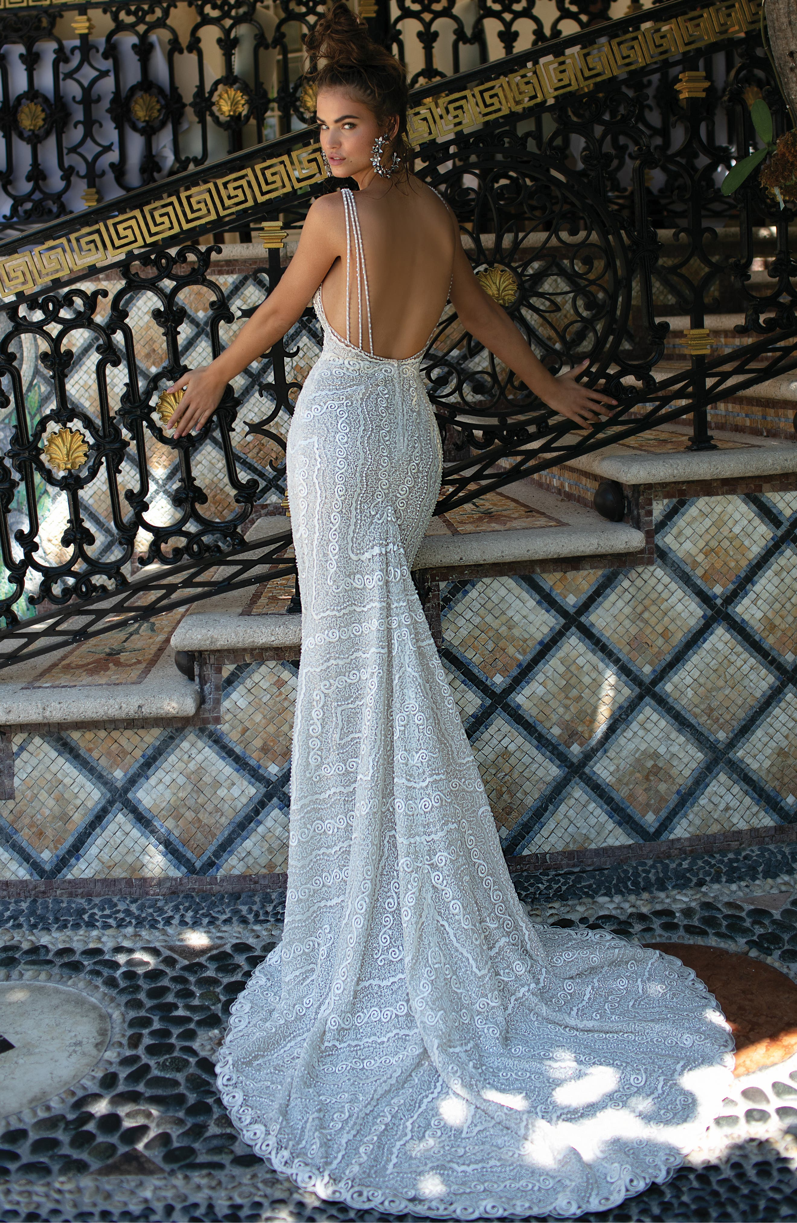 Beaded Strap Embroidered Trumpet Gown,                             Alternate thumbnail 2, color,                             IVORY