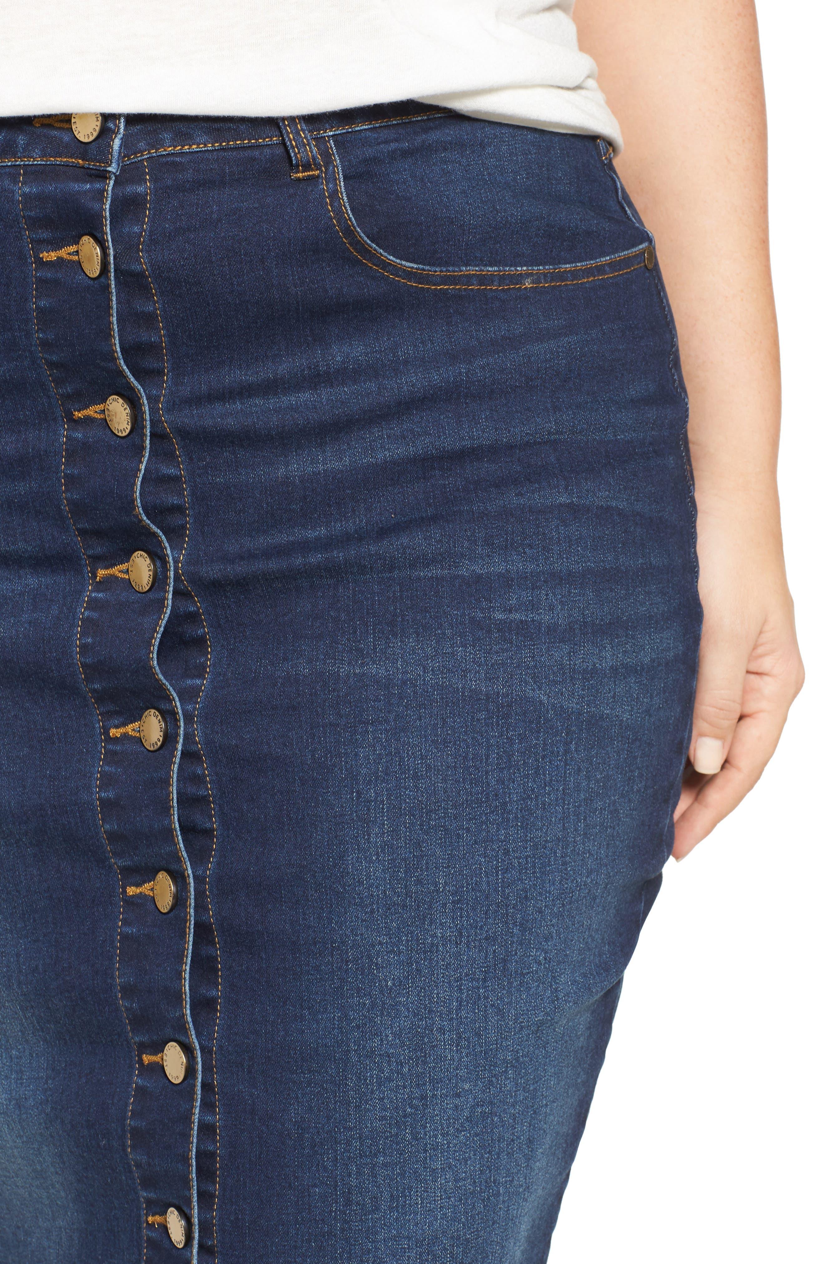 Pin Up Denim Skirt,                             Alternate thumbnail 5, color,