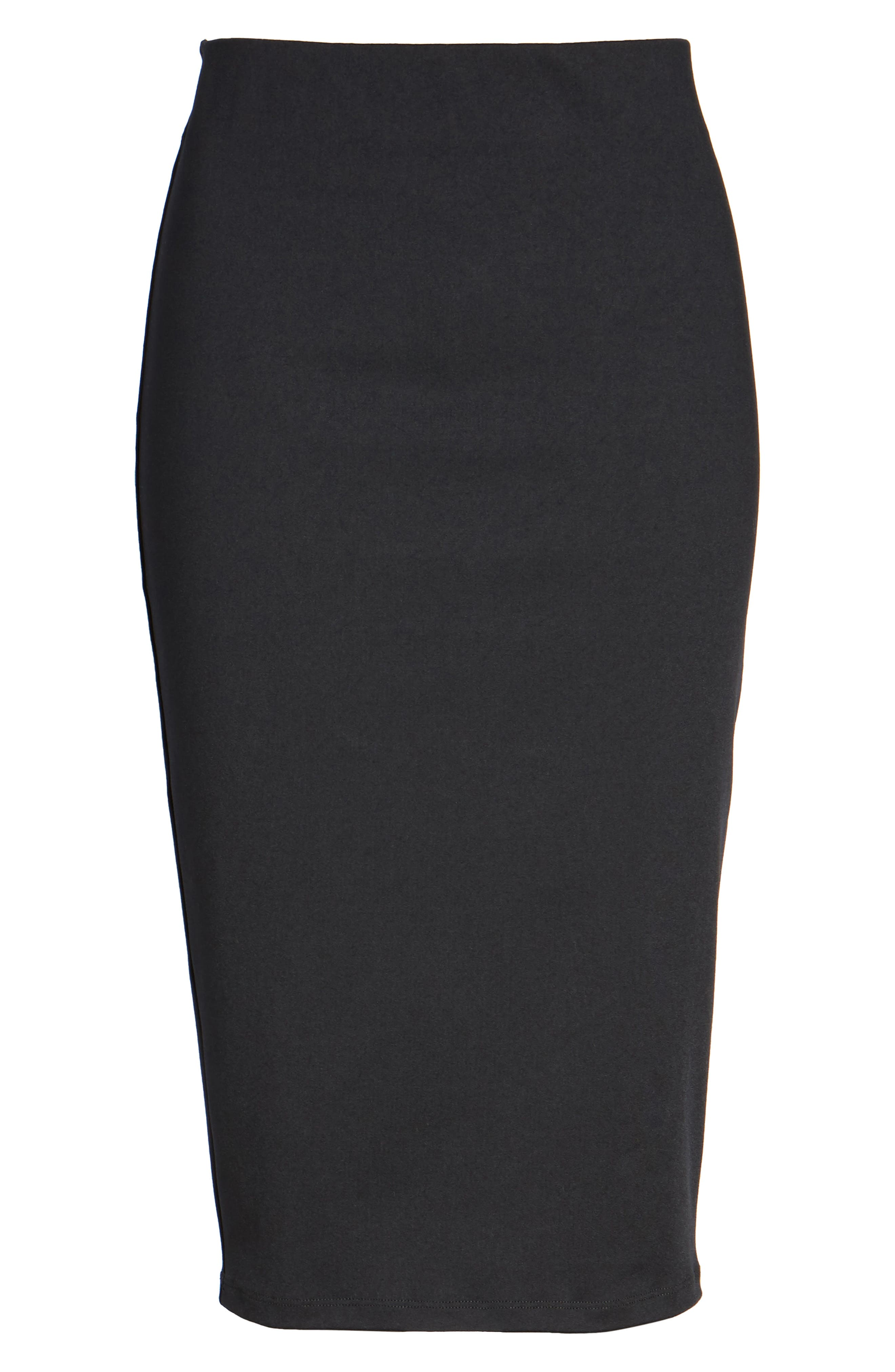 Tube High Rise Pencil Skirt,                             Alternate thumbnail 6, color,                             BLACK