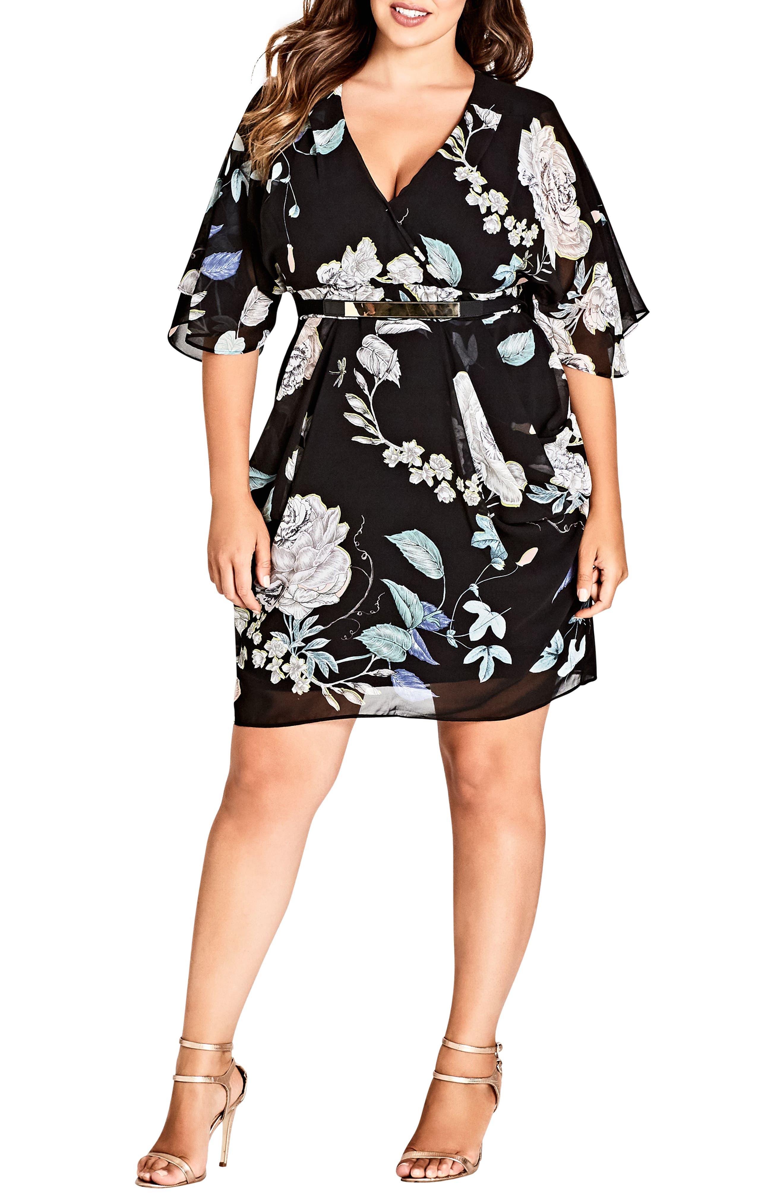 Plus Size City Chic Flower Show Faux Wrap Dress, Black
