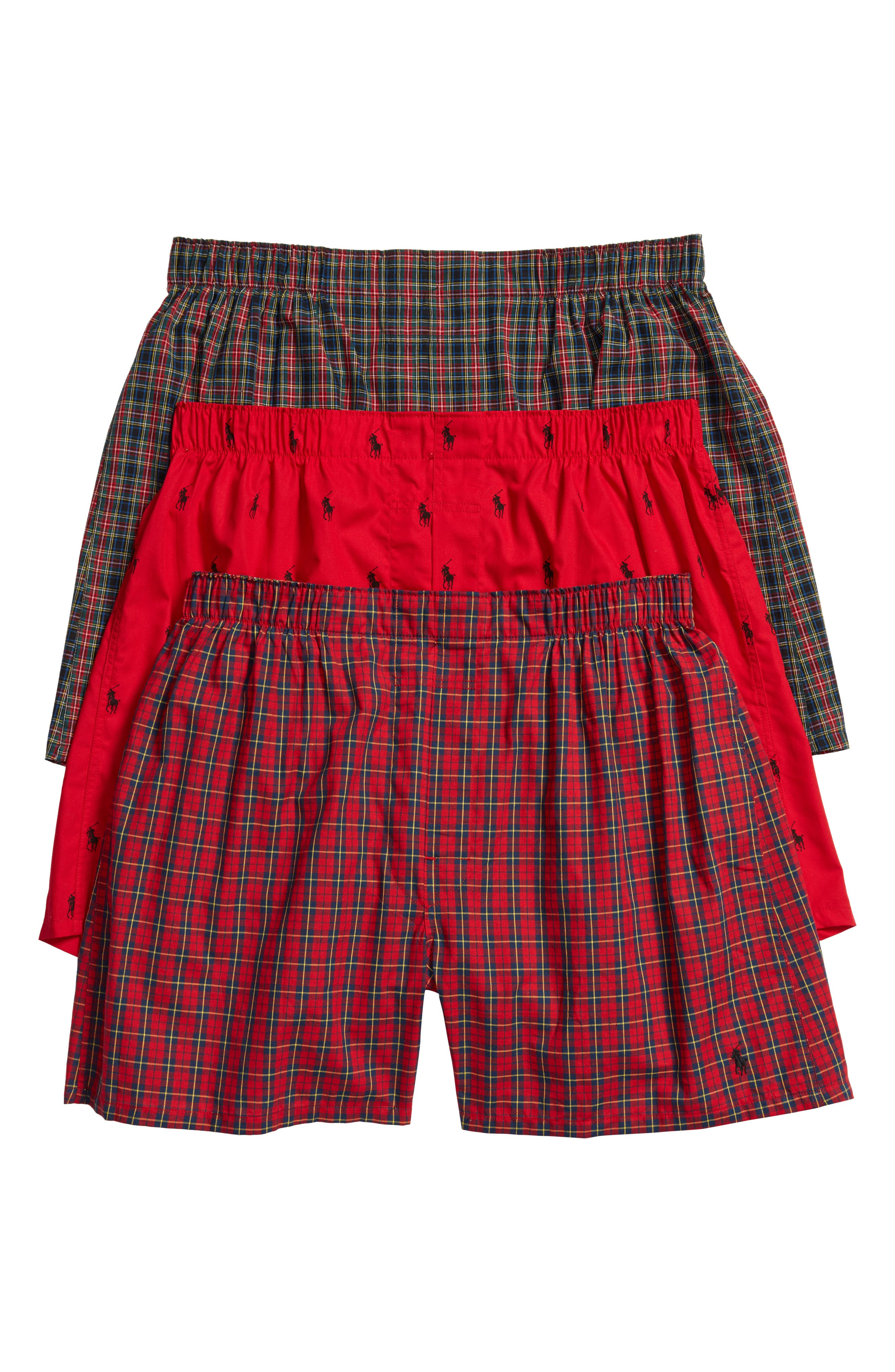 Assorted 3-Pack Woven Cotton Boxers,                             Main thumbnail 4, color,