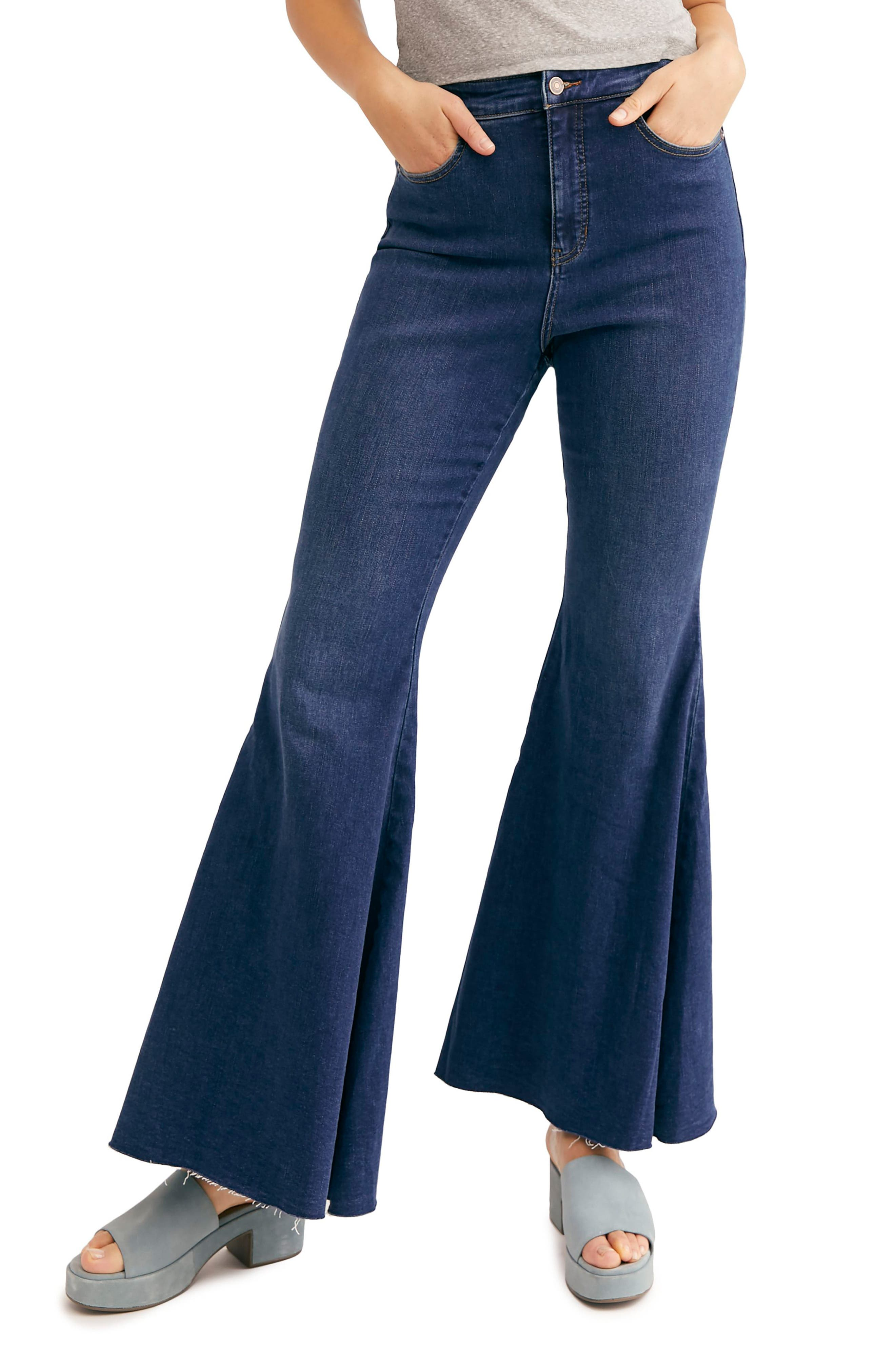 60s – 70s Pants, Jeans, Hippie, Bell Bottoms, Jumpsuits Womens Crvy By Free People Ma Cherie High Waist Flare Jeans Size 26 - Blue $98.00 AT vintagedancer.com