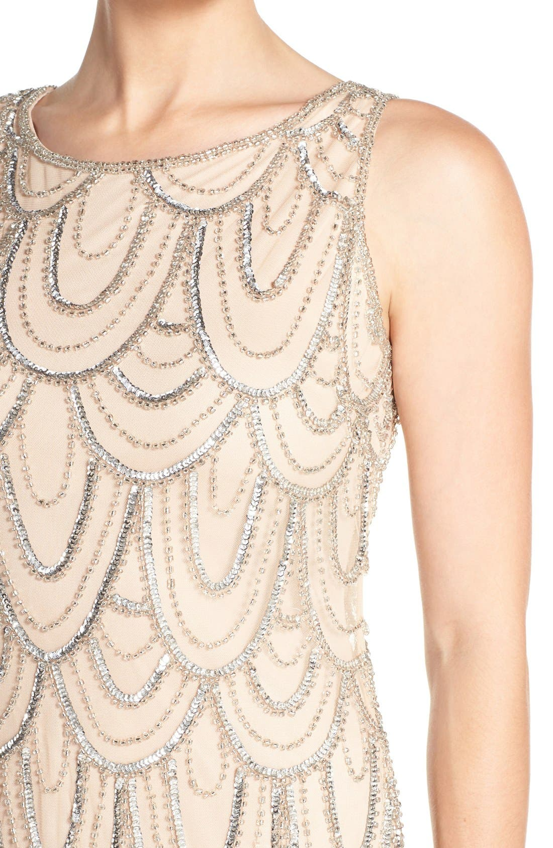 Embellished Mesh Sheath Dress,                             Alternate thumbnail 75, color,