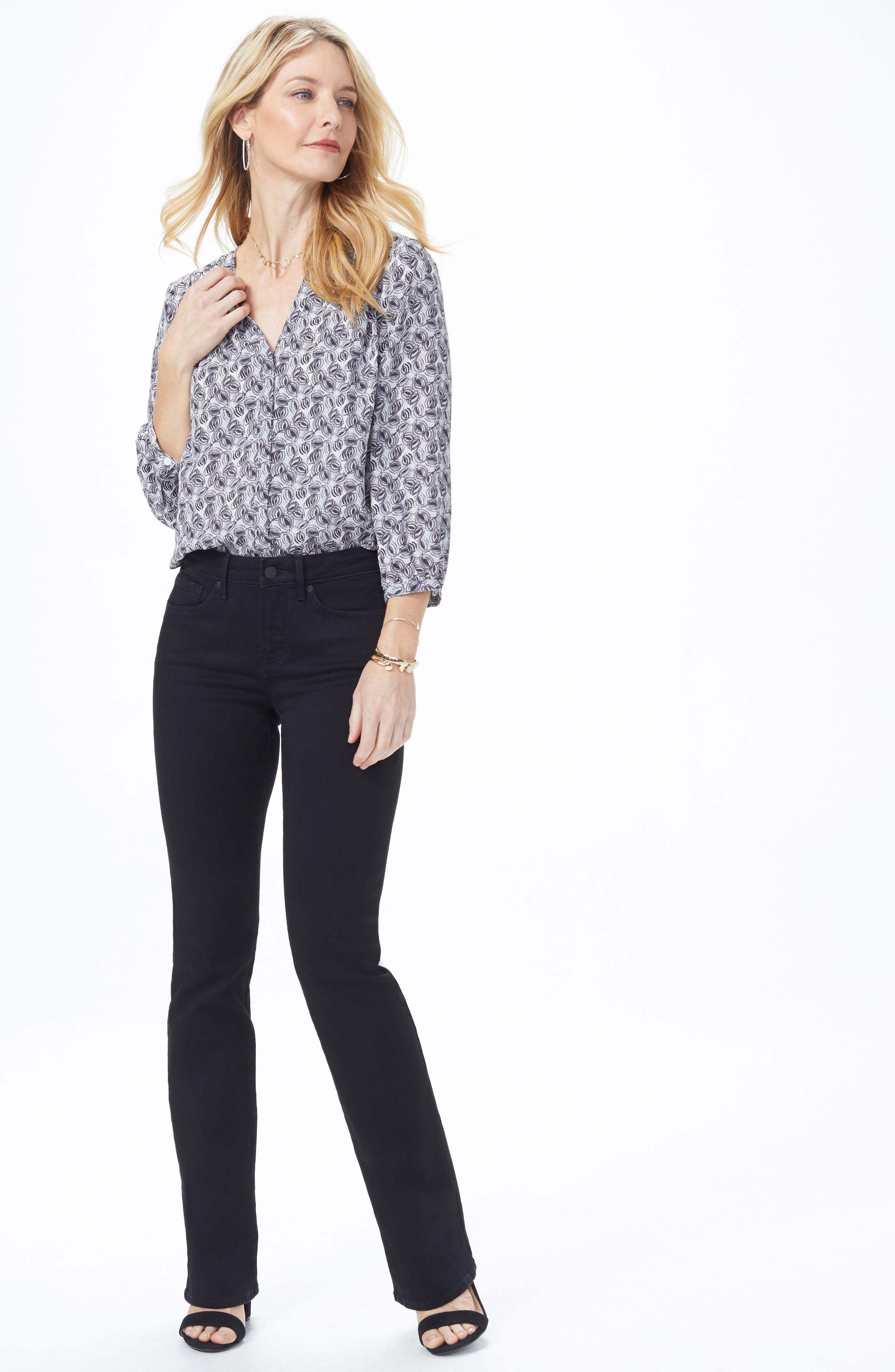 Barbara High Waist Stretch Bootcut Jeans,                             Alternate thumbnail 6, color,                             BLACK