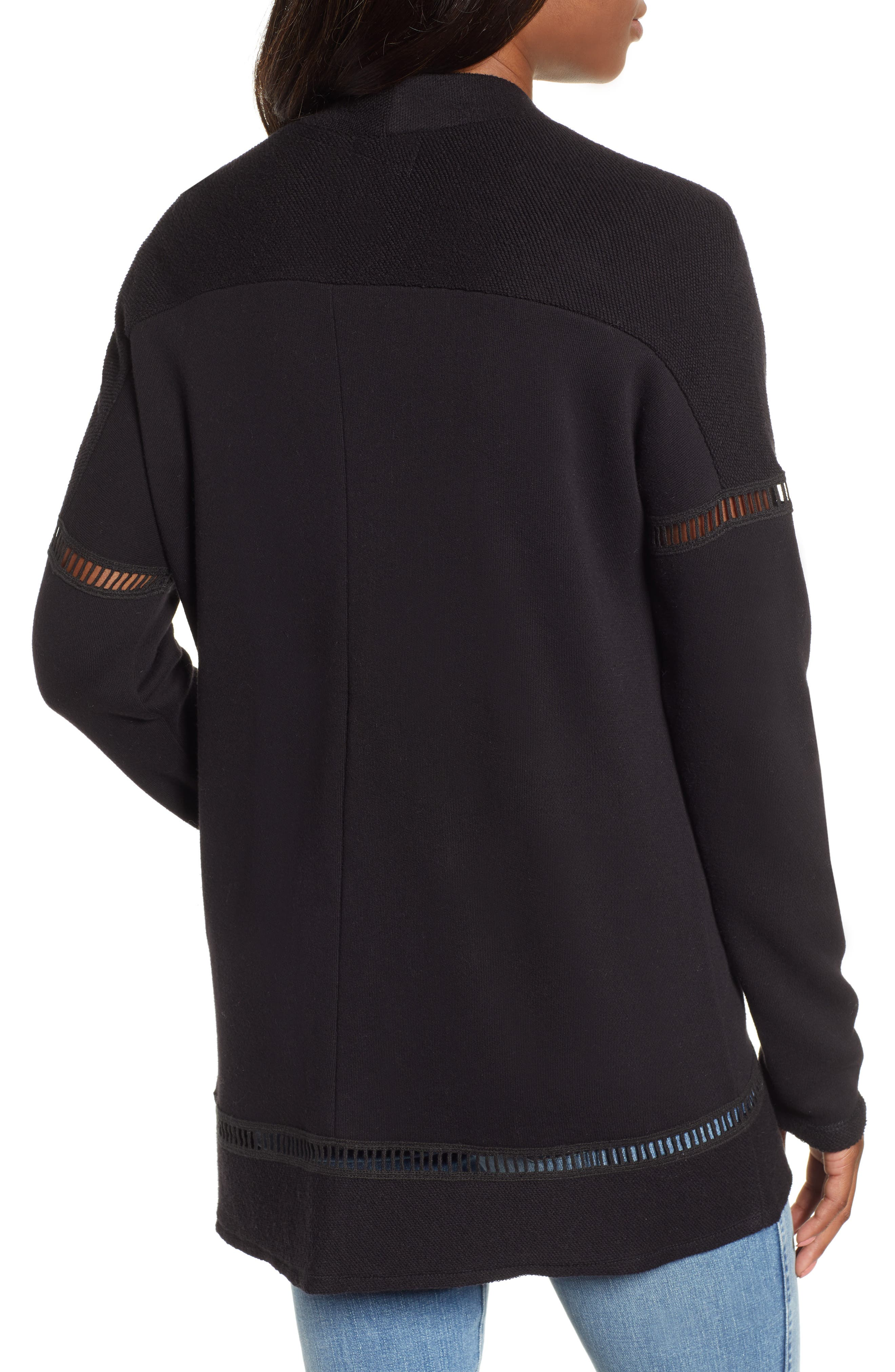 French Terry Open Front Cotton Cardigan,                             Alternate thumbnail 2, color,                             BLACK