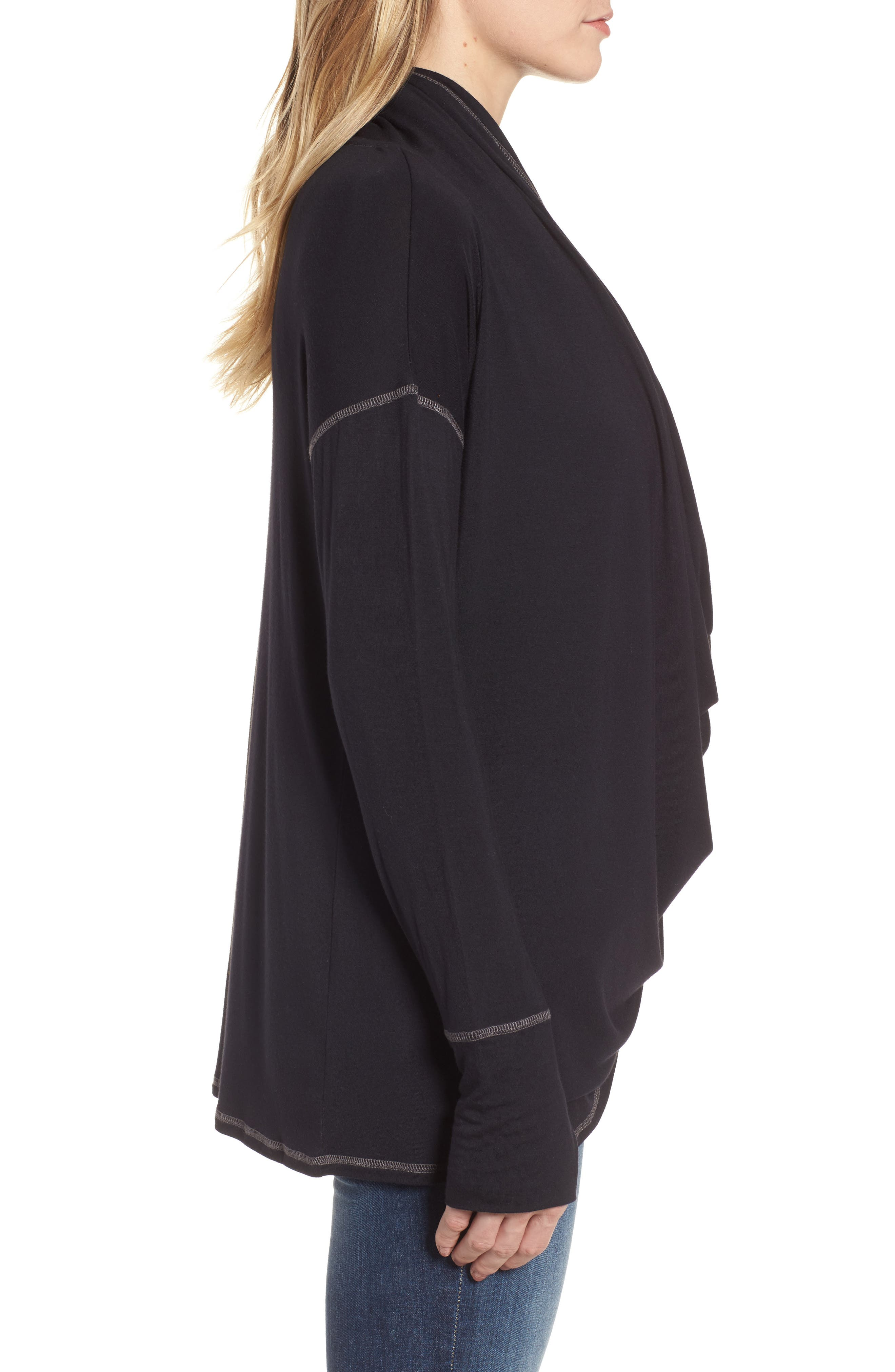 Off-Duty Long Convertible Cardigan,                             Alternate thumbnail 4, color,                             001