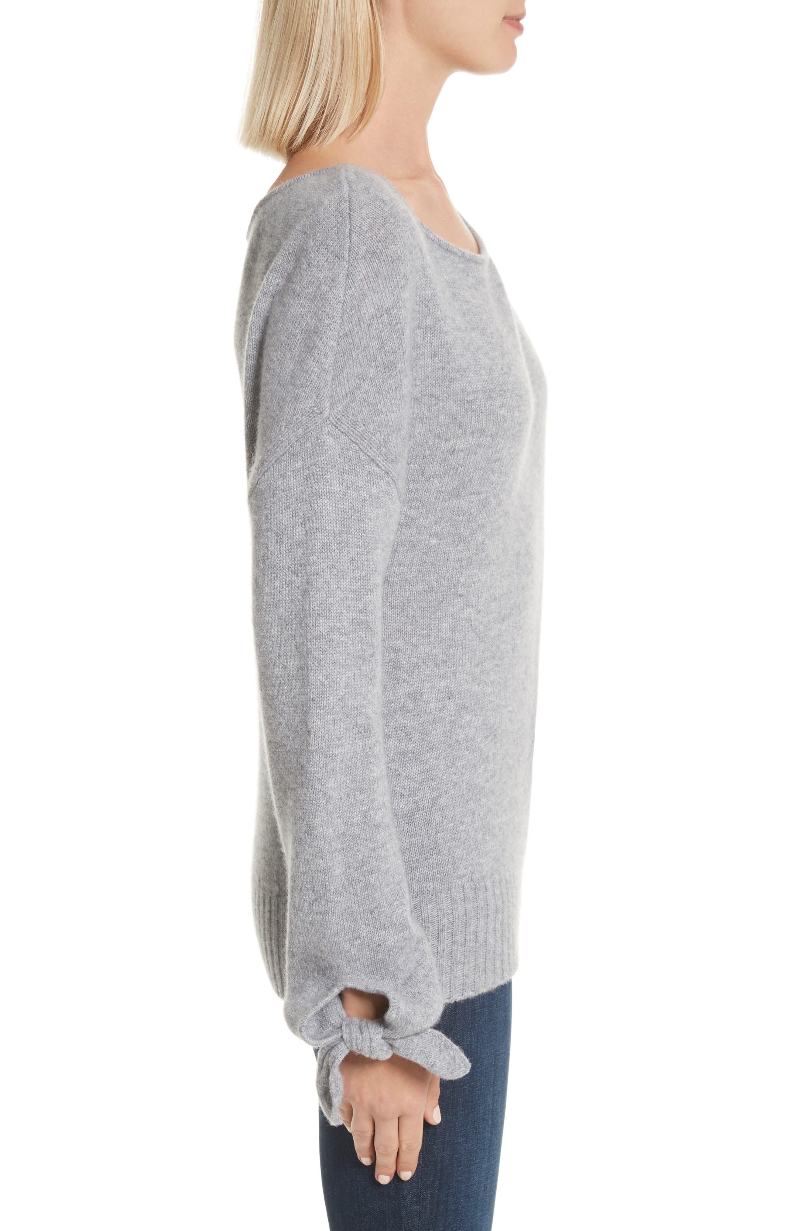 Tie Detail Cashmere Sweater,                             Alternate thumbnail 3, color,