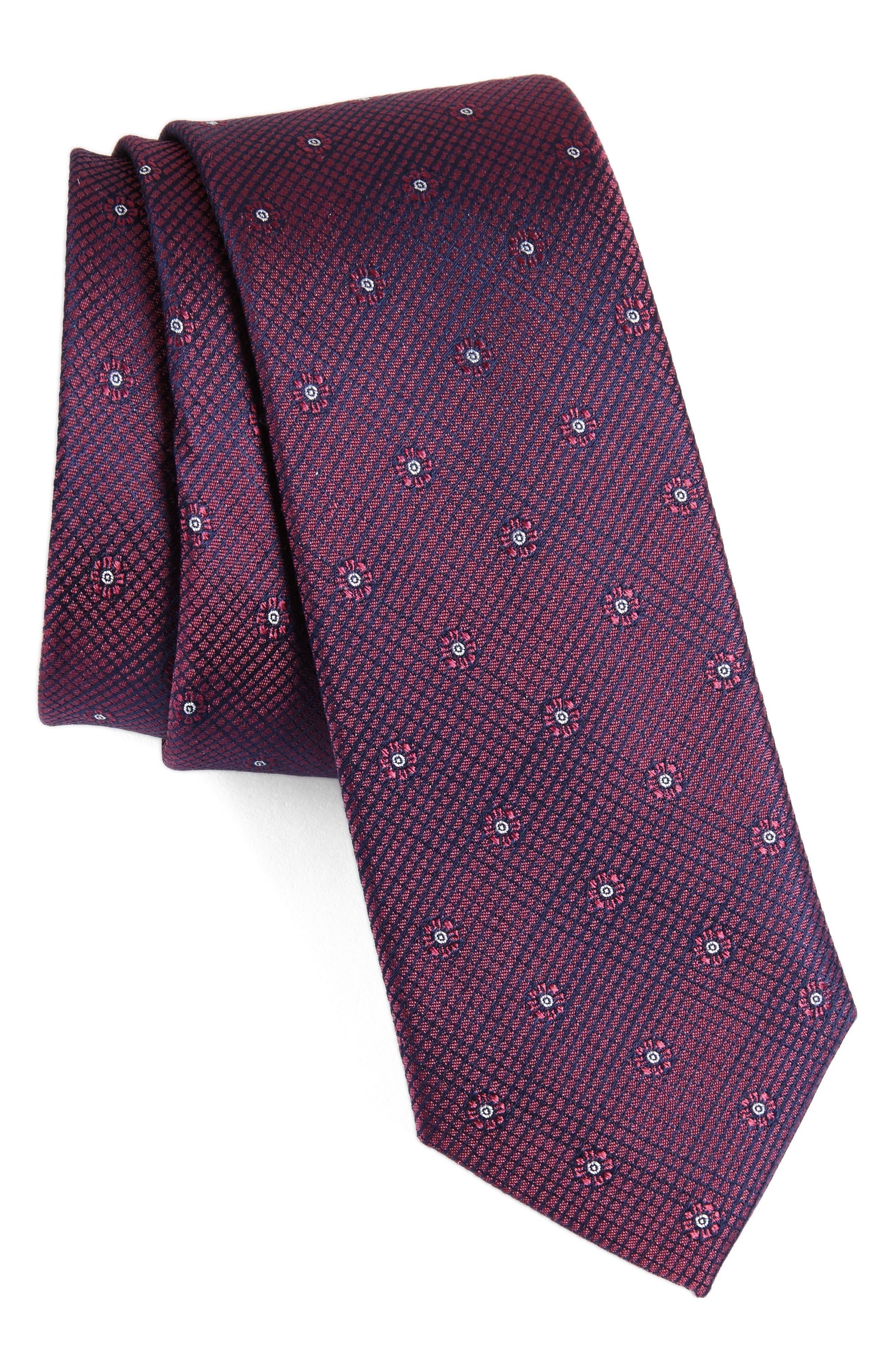 Fleur Medallion Silk Skinny Tie,                             Main thumbnail 6, color,