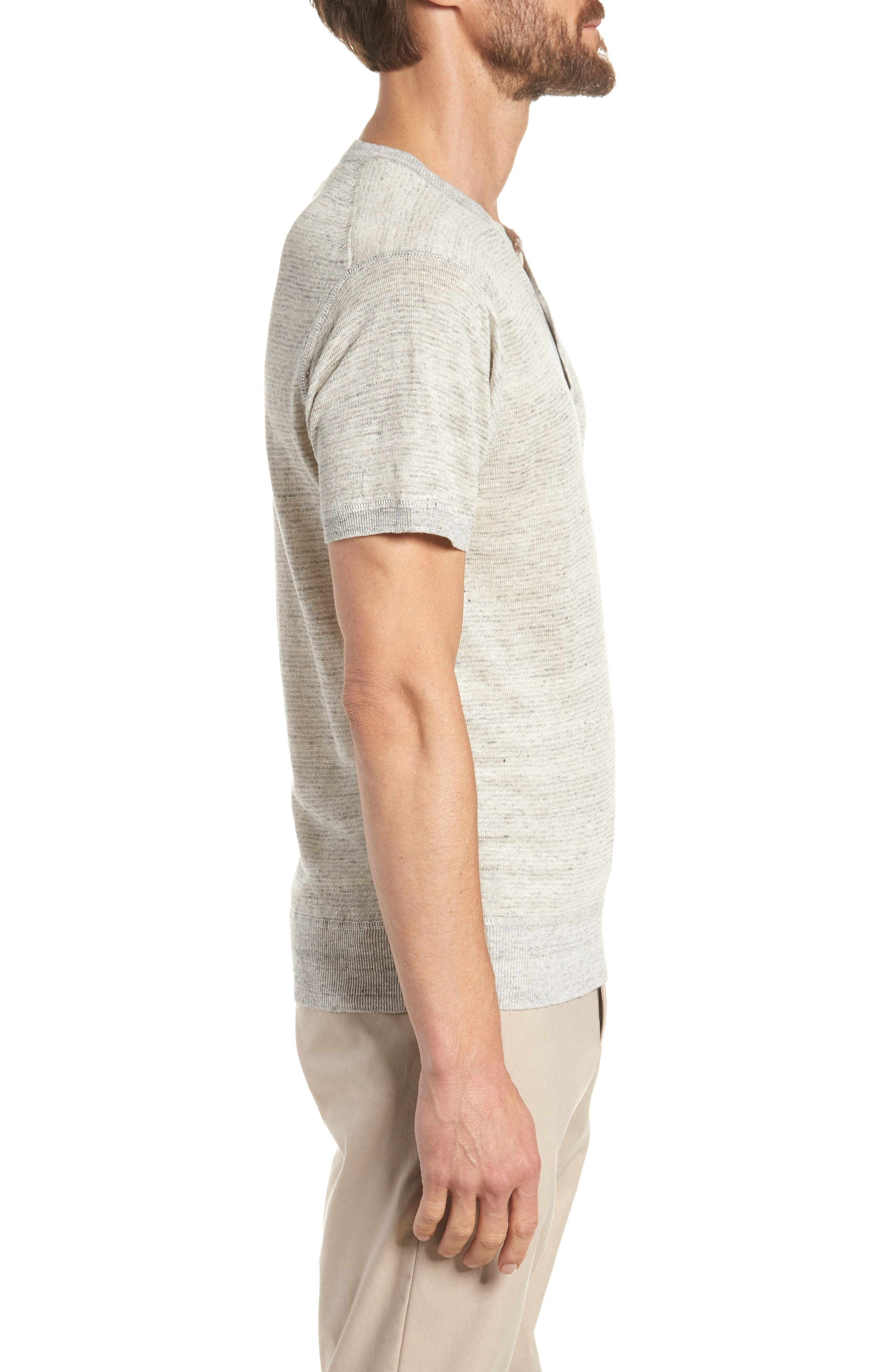 Linen Henley T-Shirt,                             Alternate thumbnail 3, color,                             022