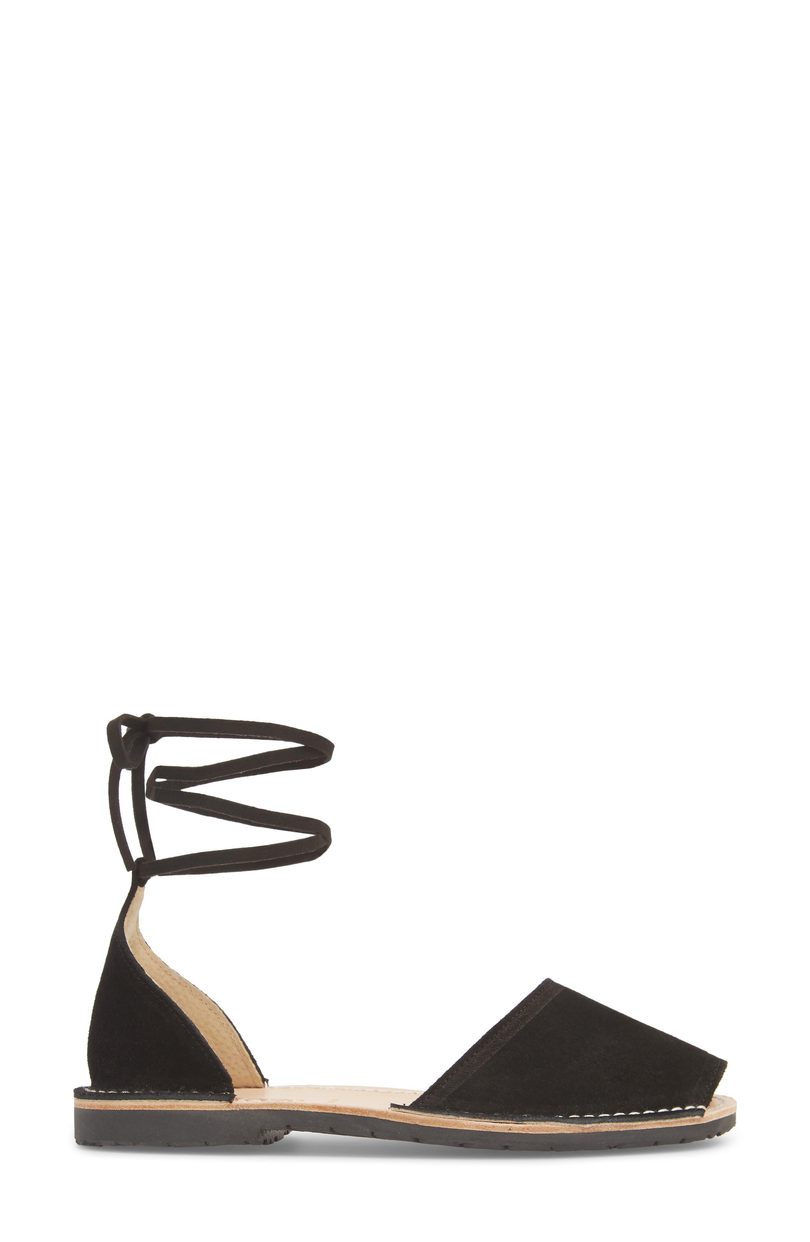 Ankle Tie Sandal,                             Alternate thumbnail 3, color,                             BLACK